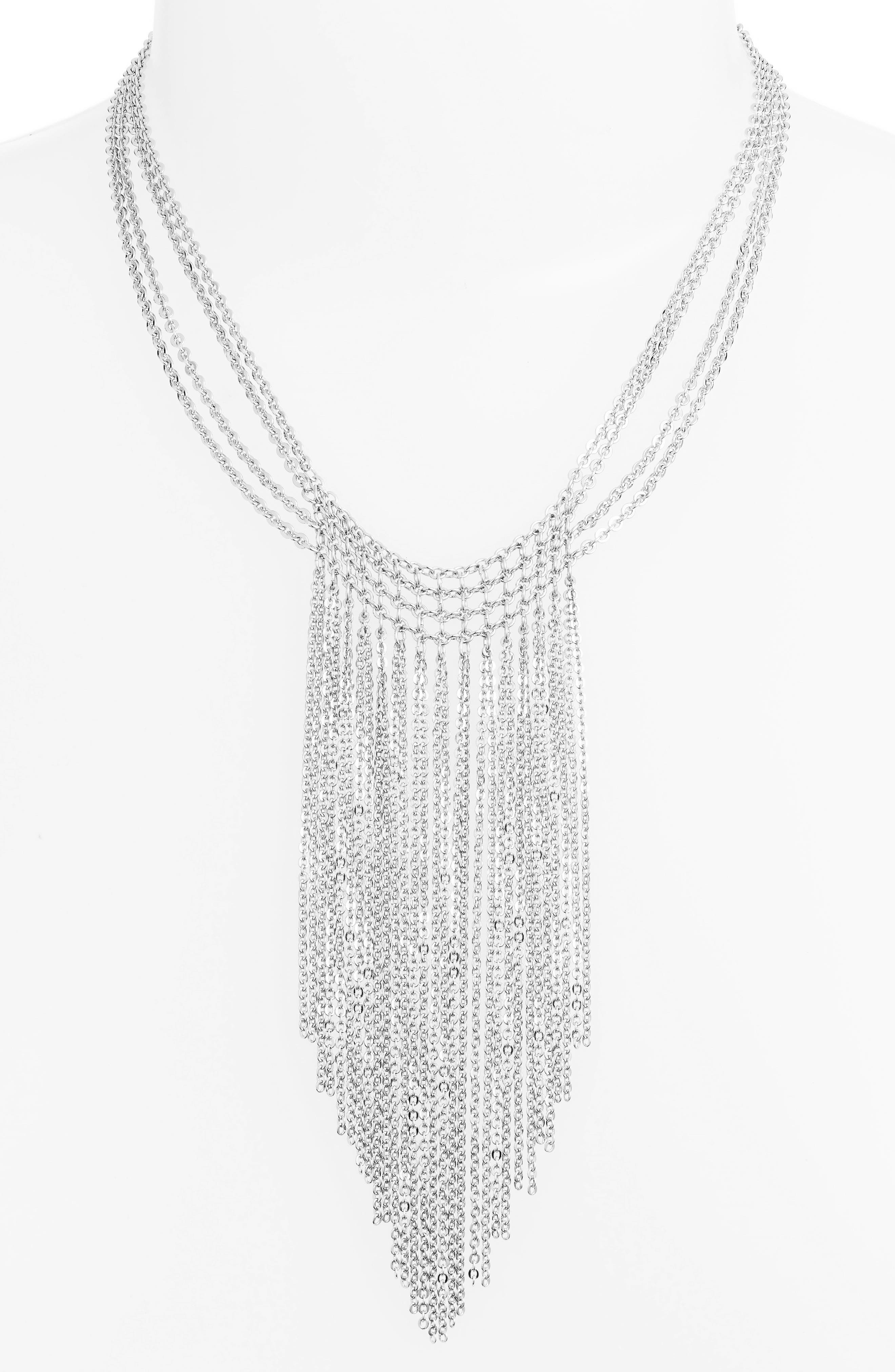 Waterfall Mesh Necklace,                         Main,                         color, Rhodium