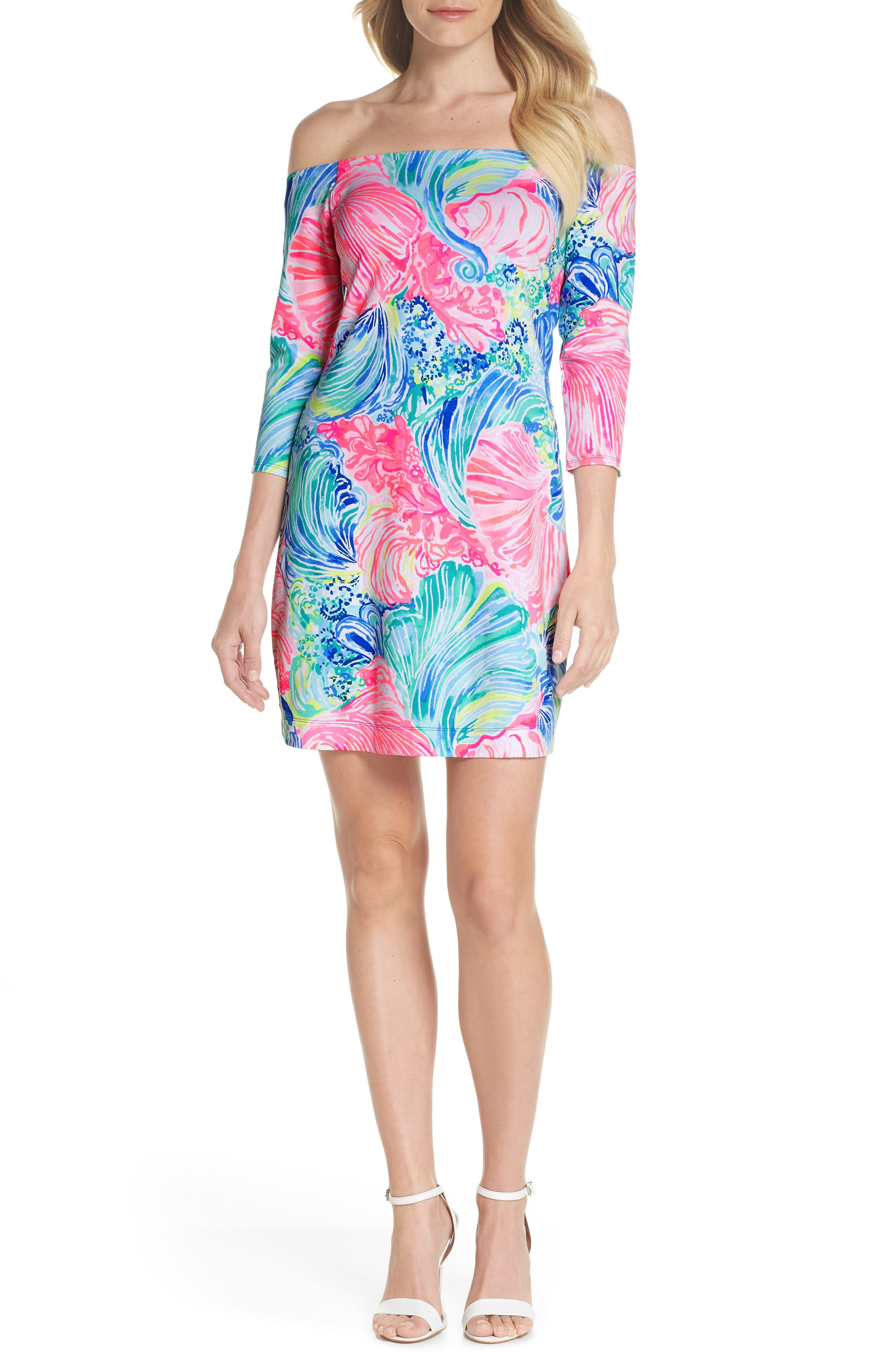 Laurana Off the Shoulder Dress,                         Main,                         color, Multi Beach Please