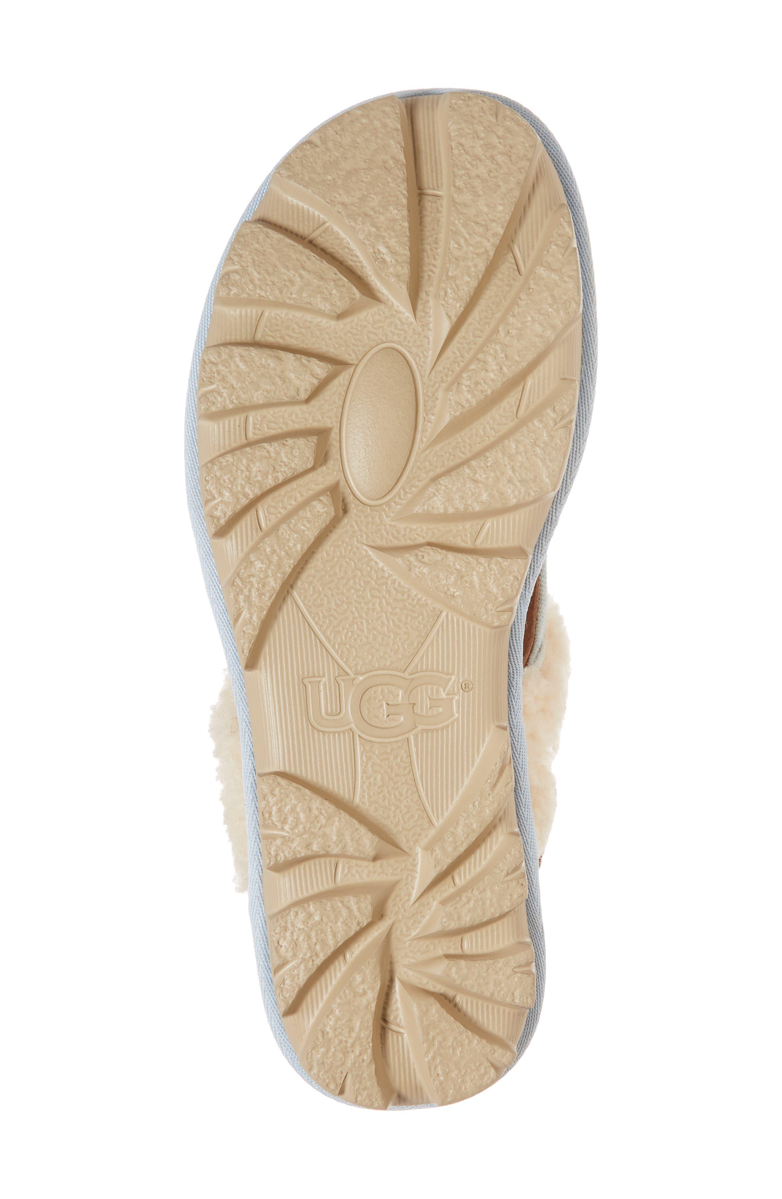 Patch It Slingback Sandal with Genuine Shearling Trim,                             Alternate thumbnail 6, color,                             Bleach Denim