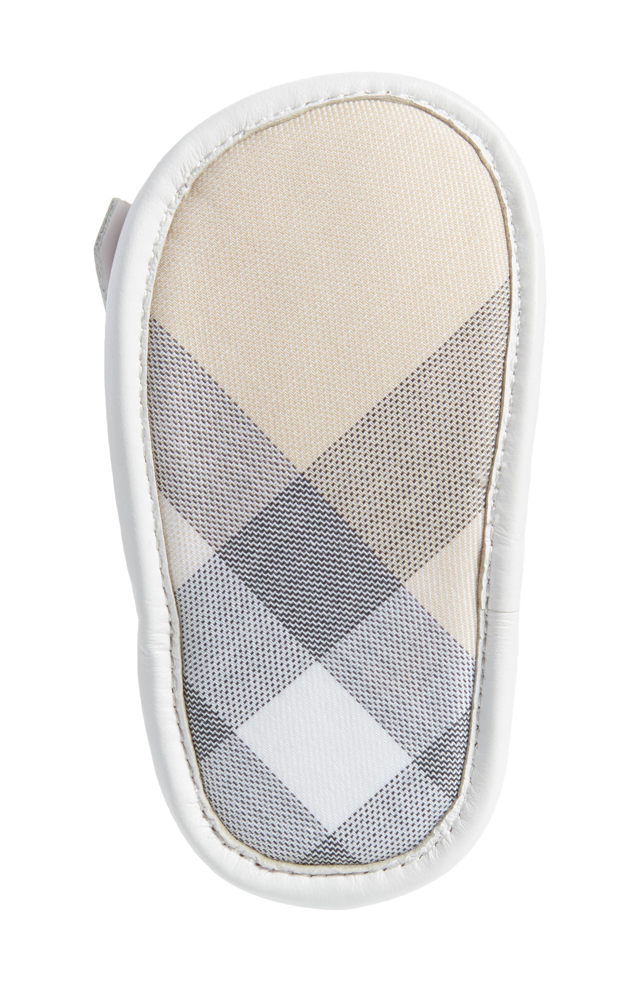 New Dawny Kiltie Fringe Crib Sandal,                             Alternate thumbnail 6, color,                             Optic White