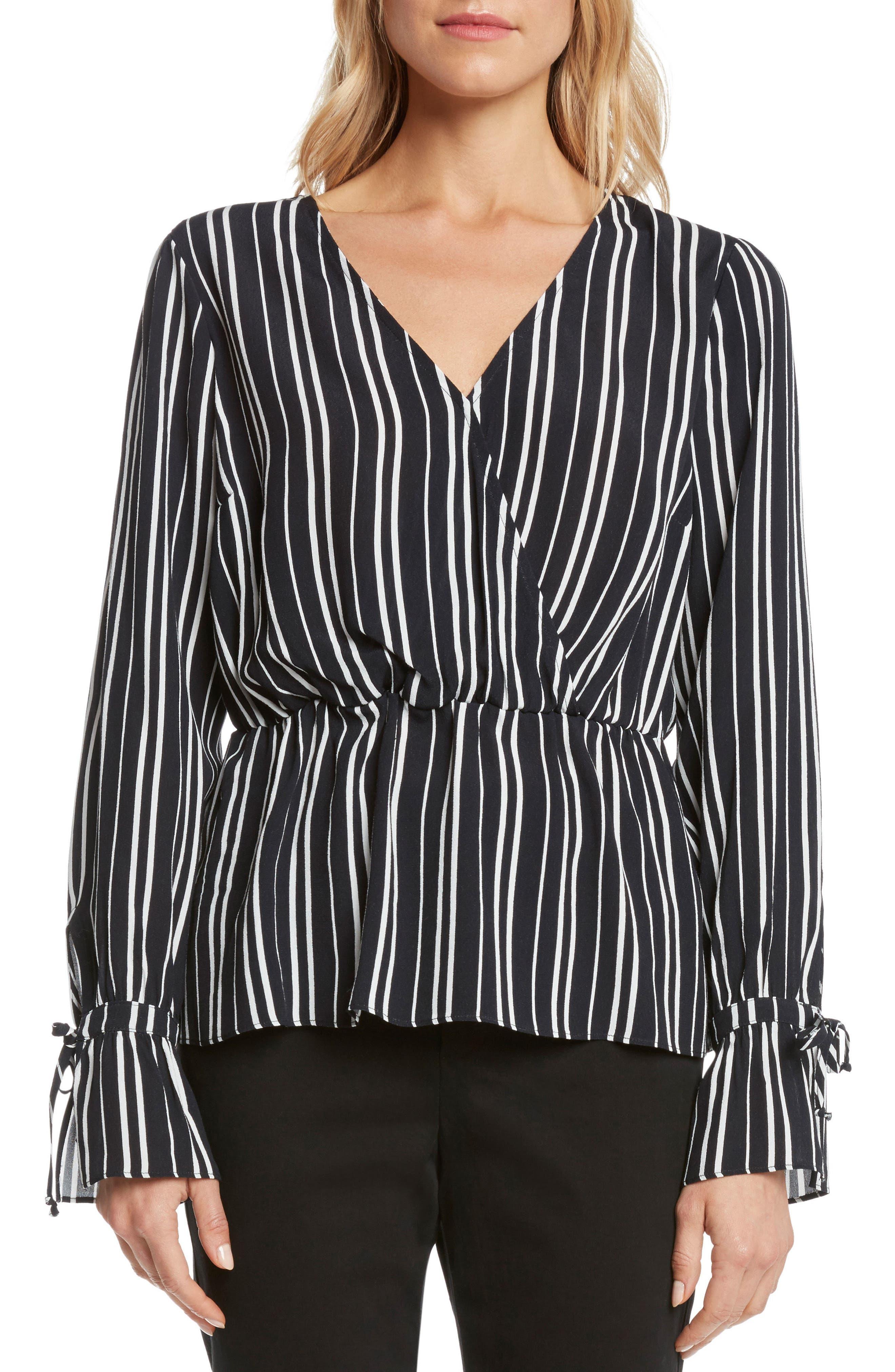 Stripe Top,                         Main,                         color, Black