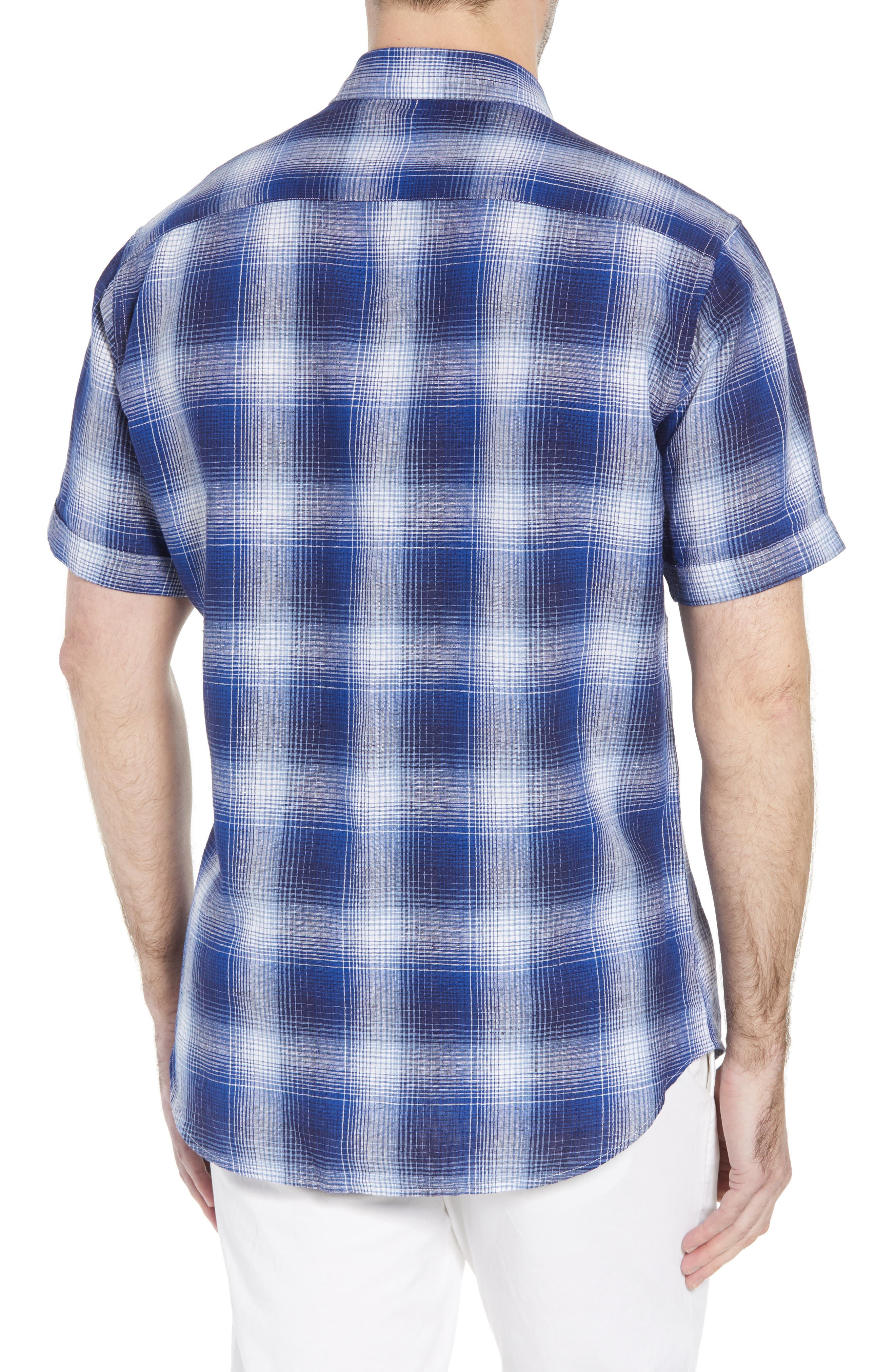 Shaped Fit Plaid Linen Blend Sport Shirt,                             Alternate thumbnail 3, color,                             Navy