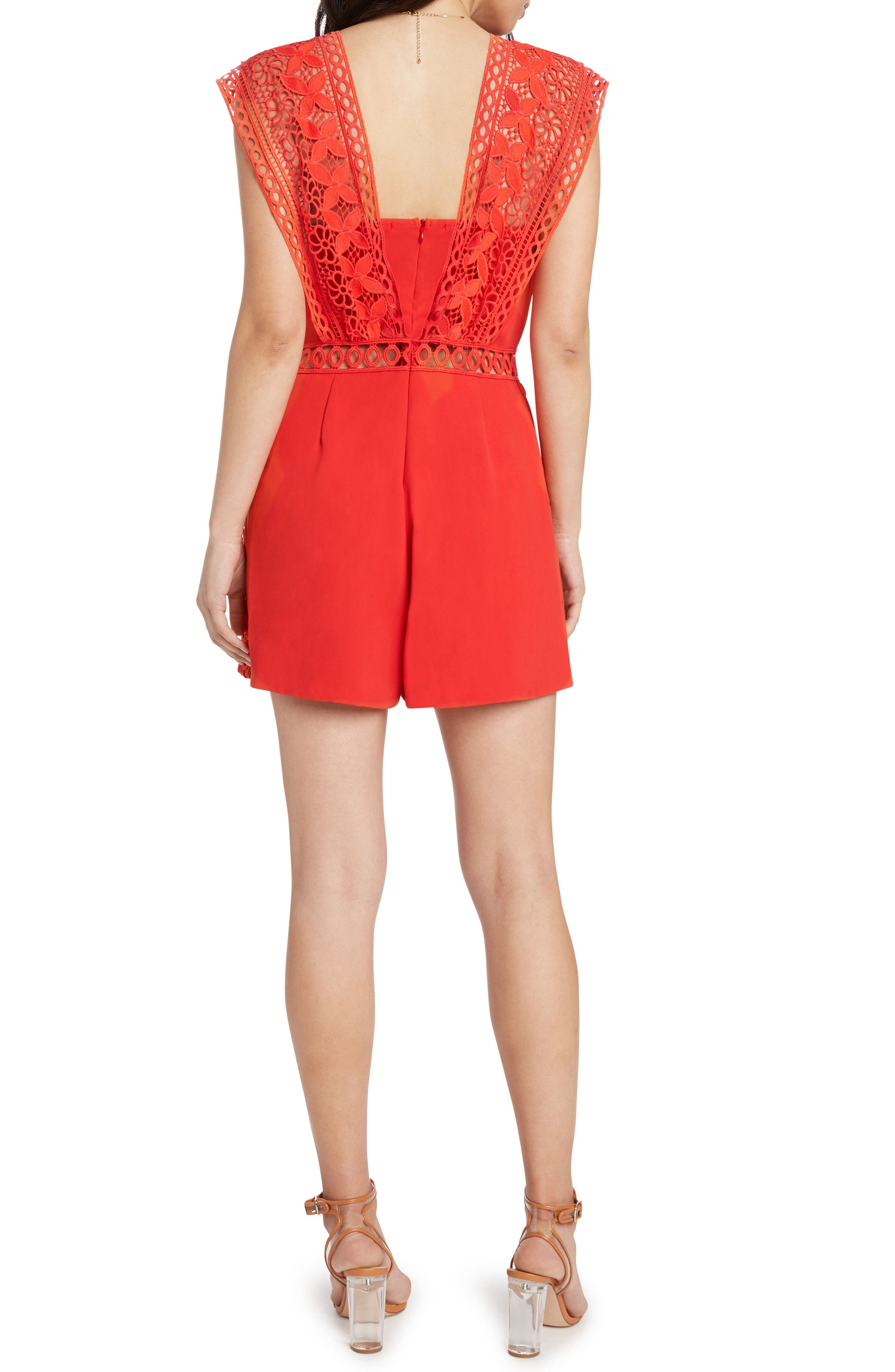 Lace Trim Romper,                             Alternate thumbnail 2, color,                             Poppy