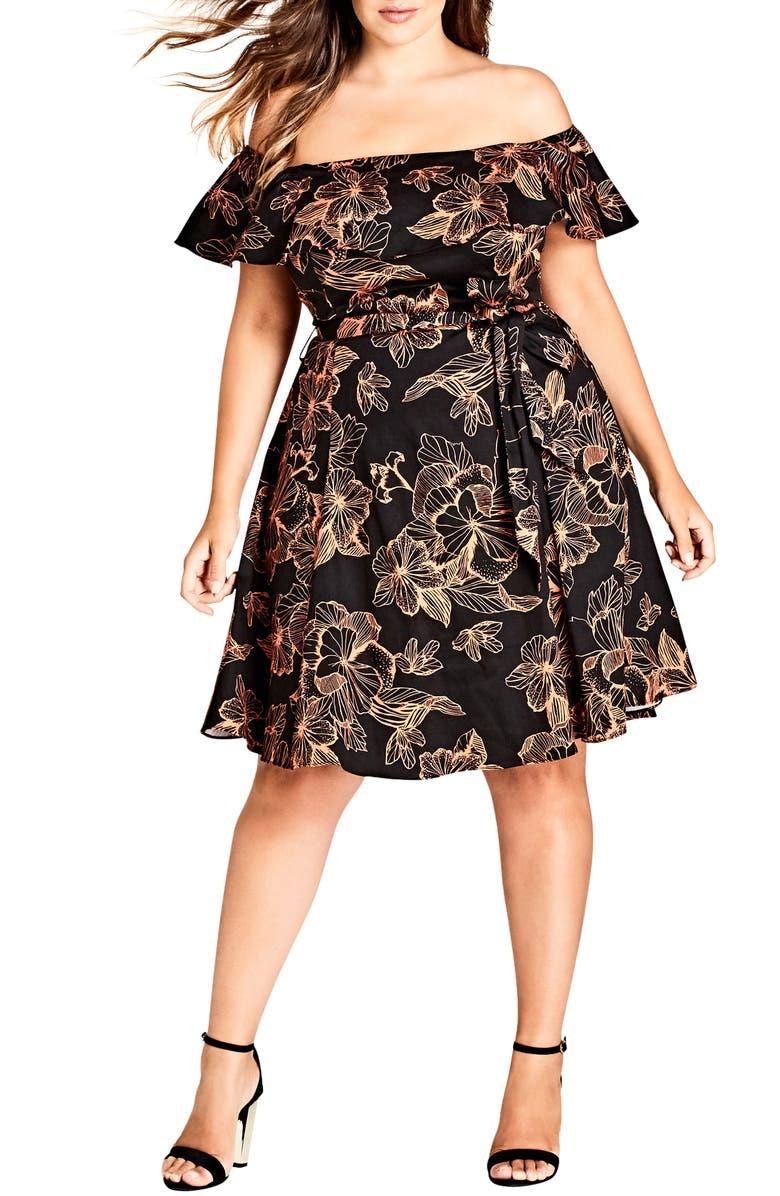 Floral Off the Shoulder Fit  Flare Dress