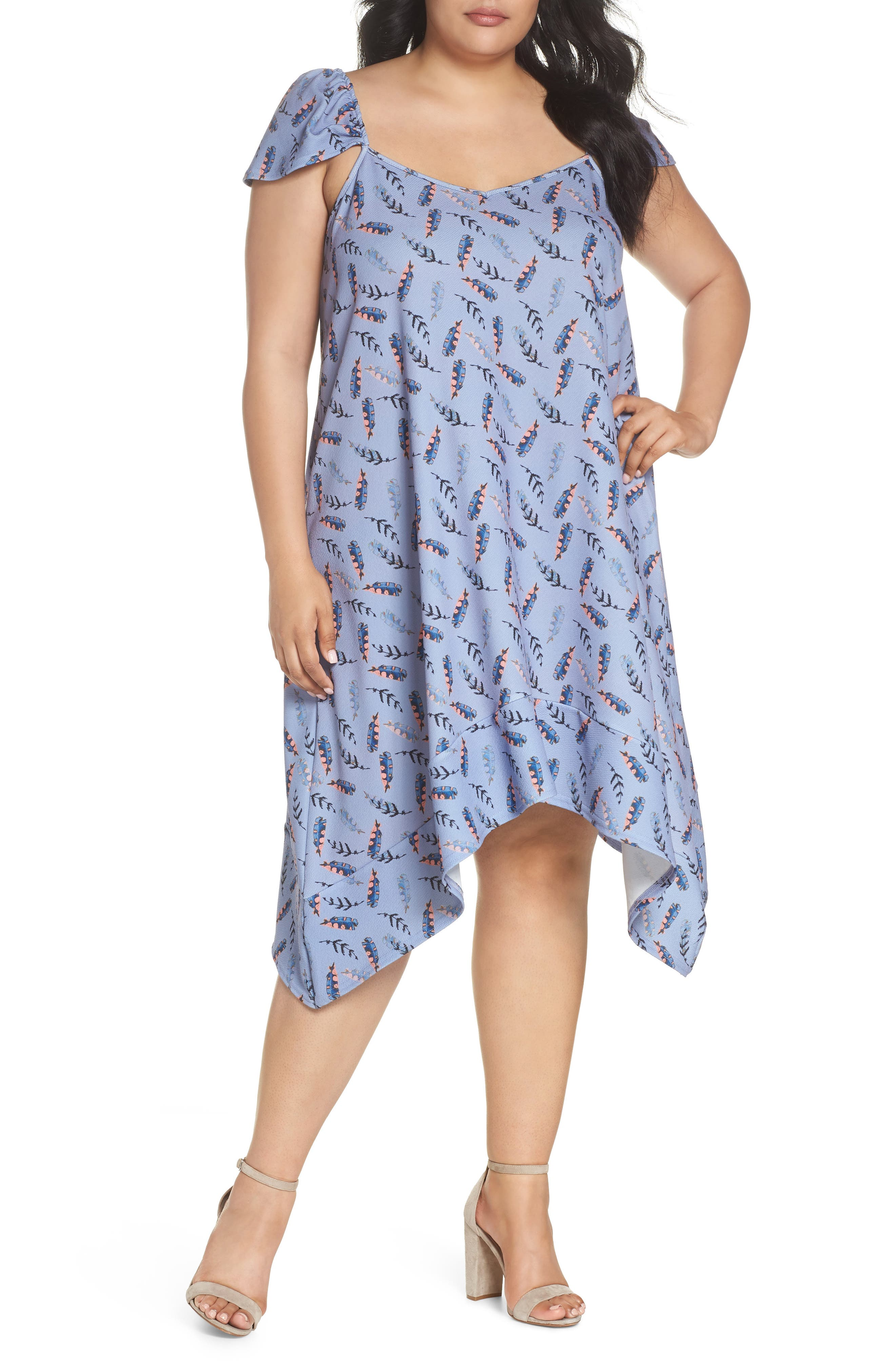 Feather Print Swing Dress,                         Main,                         color, Multi