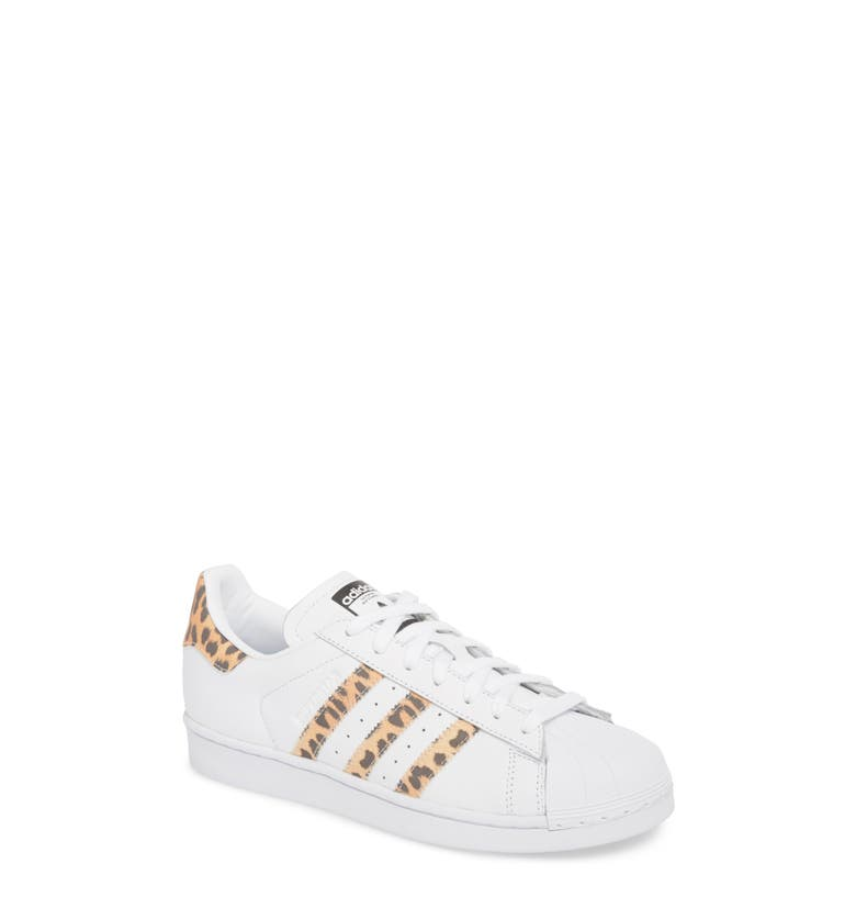 the best attitude cc10e cff47 Adidas Originals Superstar Leopard Print-Trimmed Leather Sneakers In White