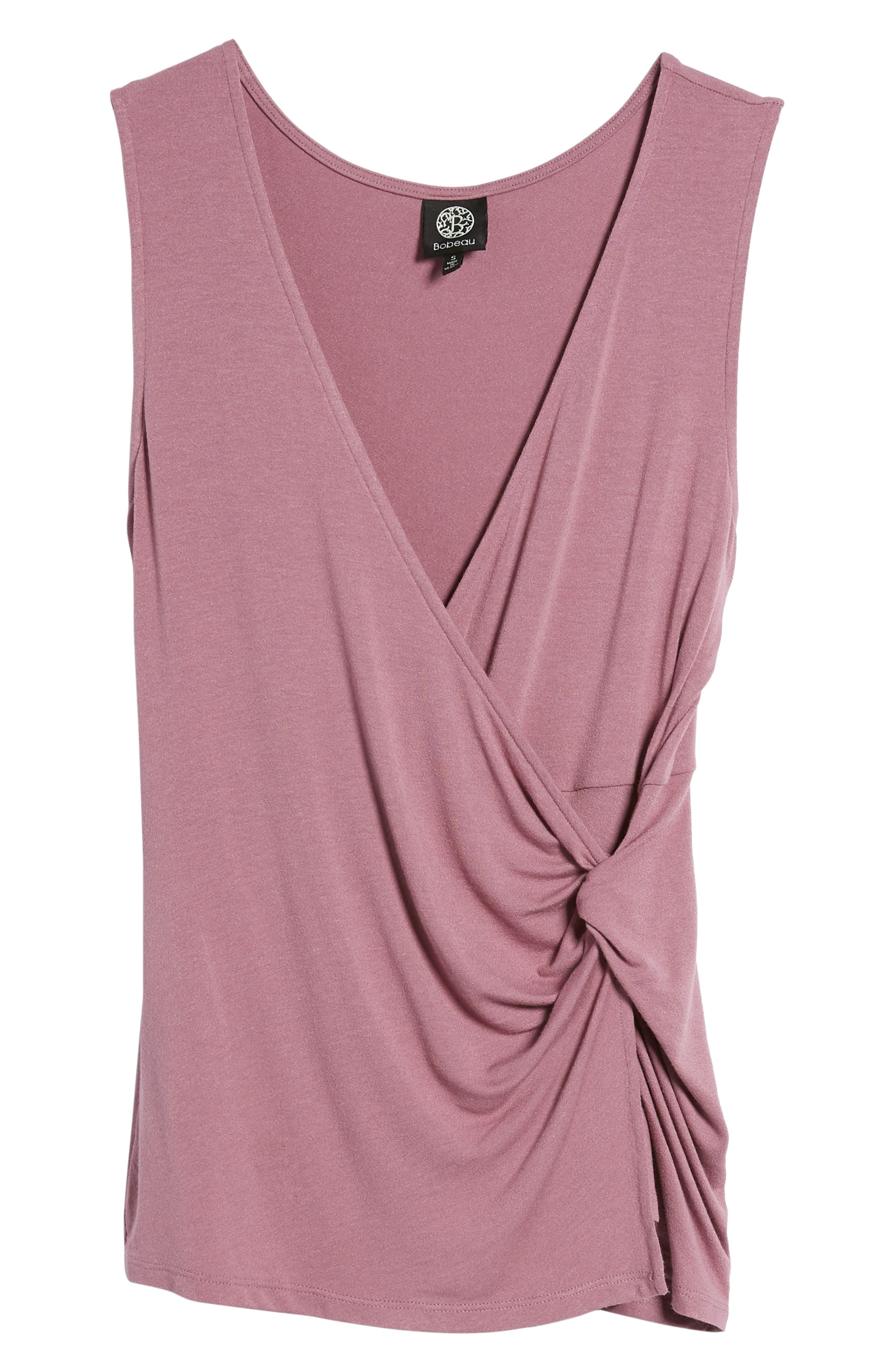 Side Knot Ruched Tank Top,                             Alternate thumbnail 7, color,                             Mauve