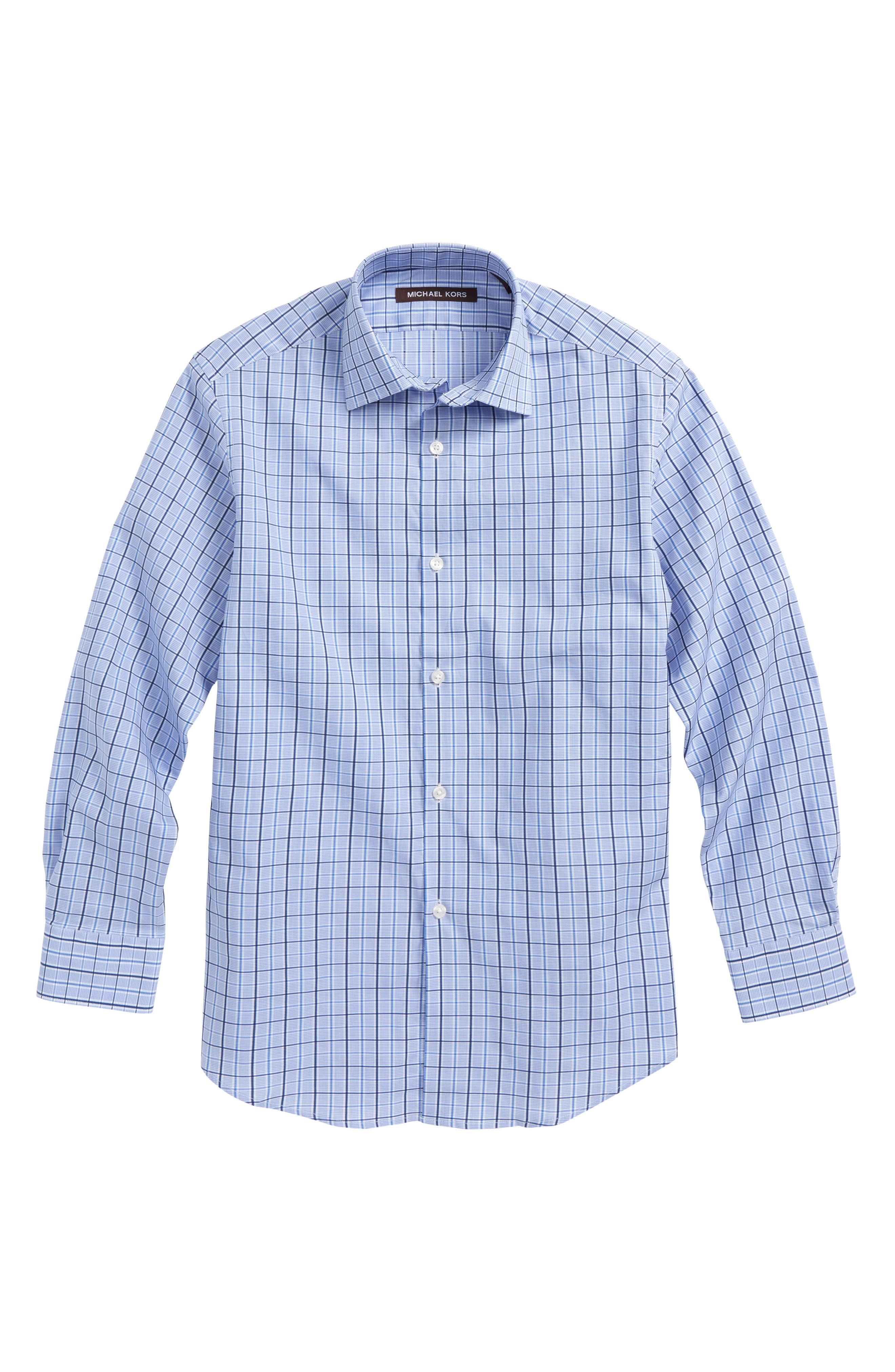 Plaid Dress Shirt,                             Main thumbnail 1, color,                             Blue/ White