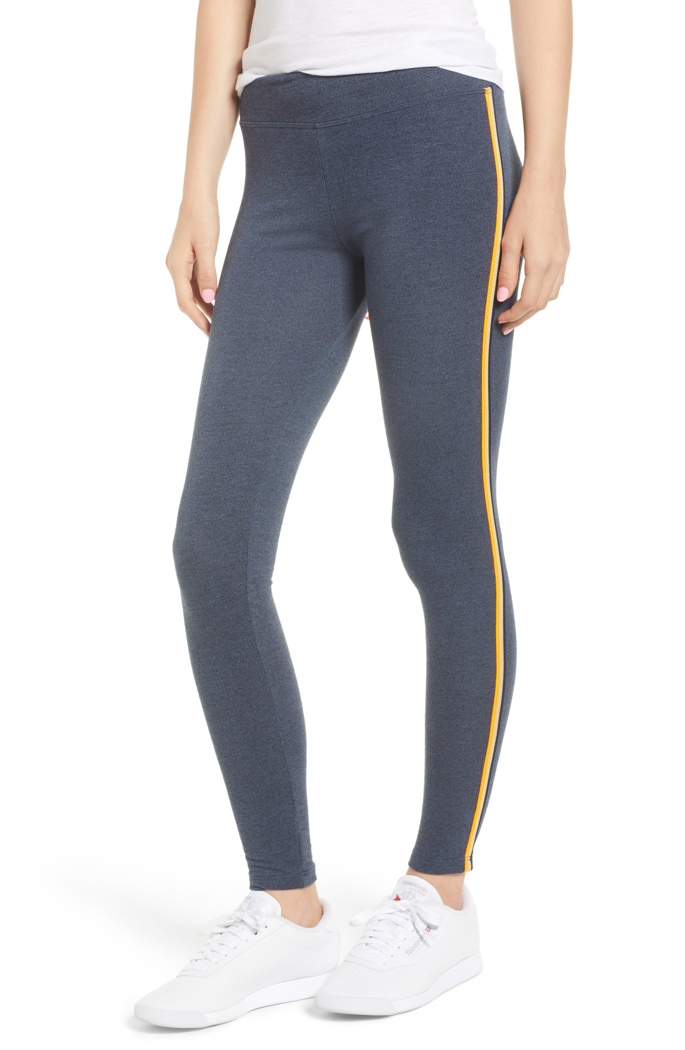 Side Stripe Yoga Pants,                         Main,                         color, Navy