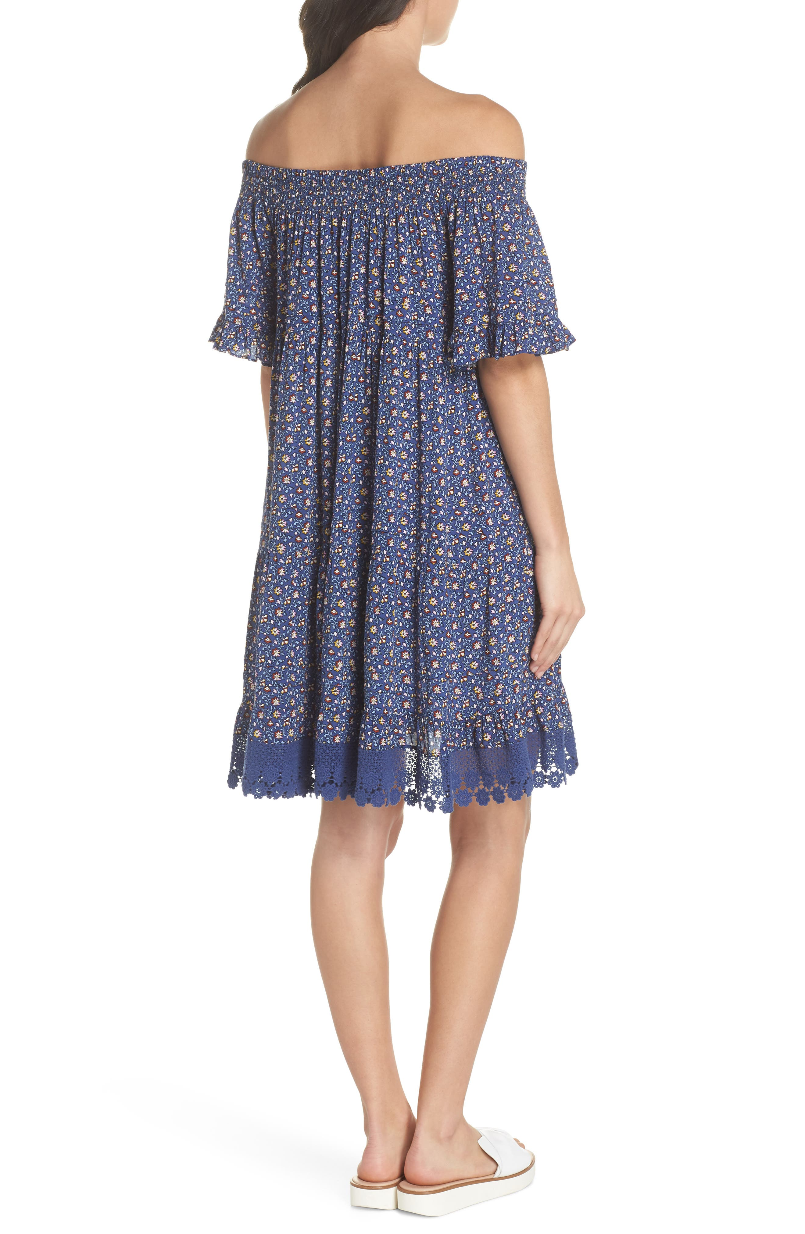Wild Pansy Off the Shoulder Cover-Up Dress,                             Alternate thumbnail 2, color,                             Navy Wild Pansy