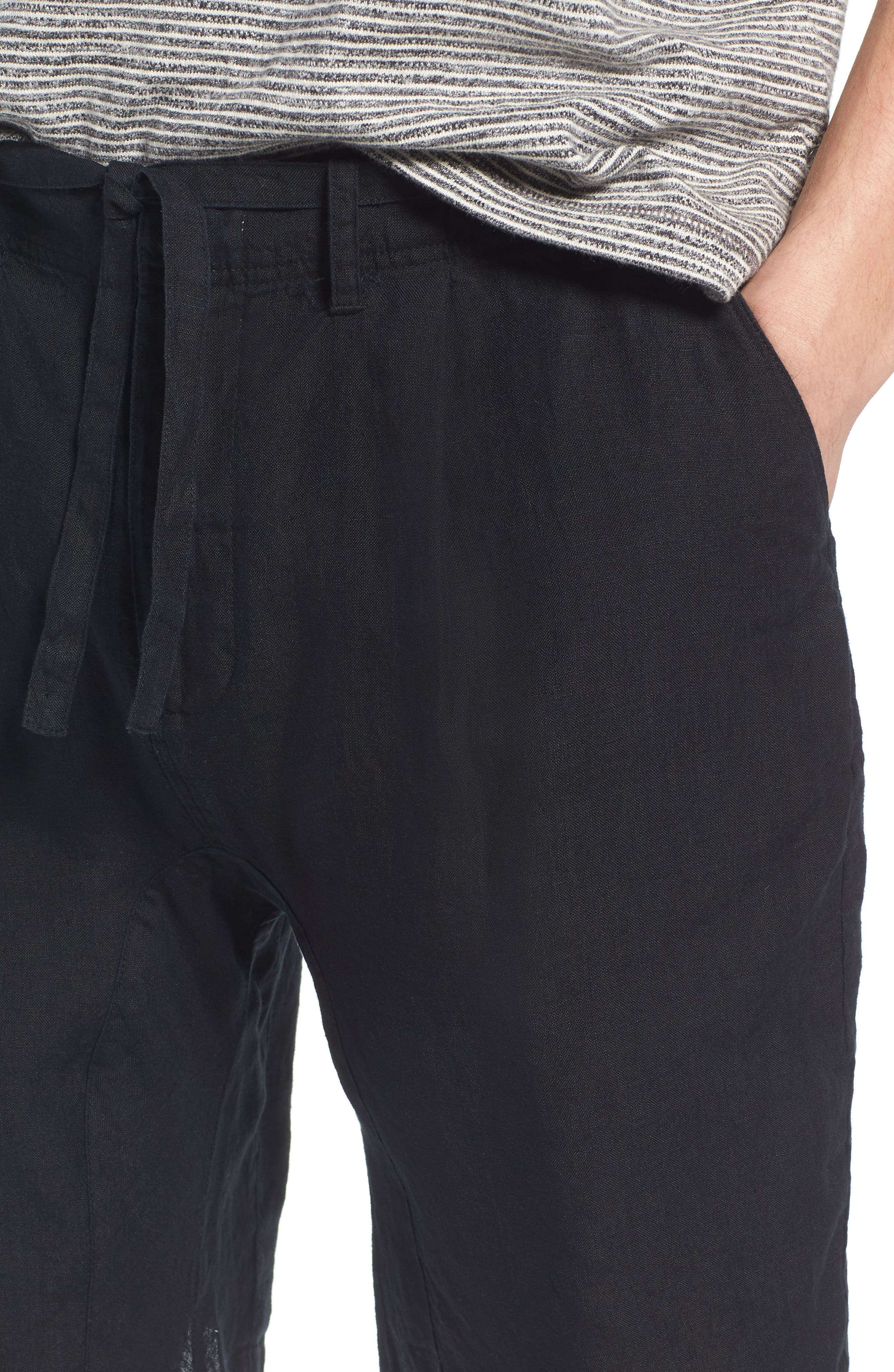 Pleat Tie Waist Linen Shorts,                             Alternate thumbnail 4, color,                             Black