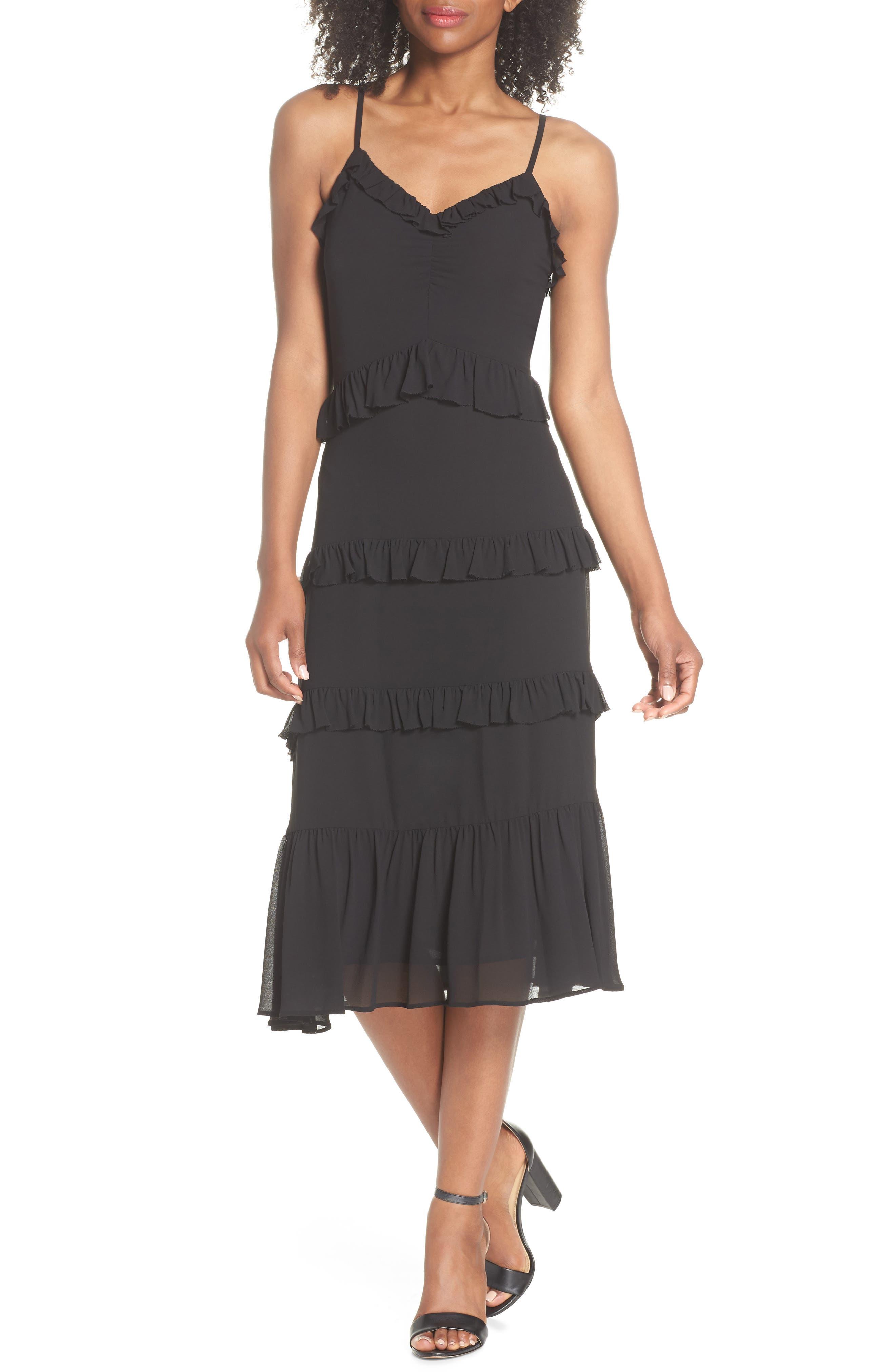 Tiered Ruffle Midi Dress,                             Main thumbnail 1, color,                             Black