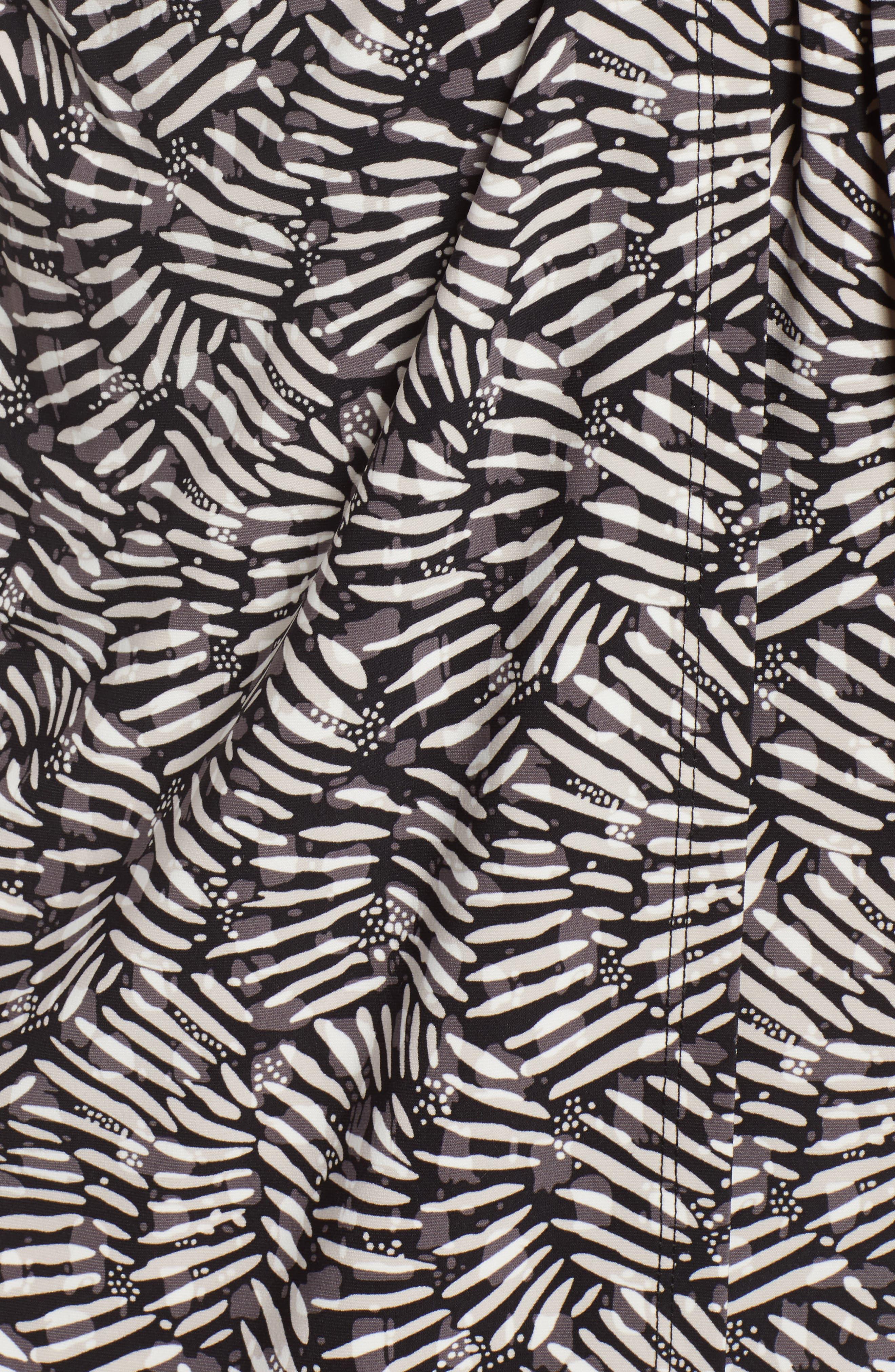 Cedarwood Stretch Crepe Faux Wrap Dress,                             Alternate thumbnail 5, color,                             Black/ Oyster Shell Combo