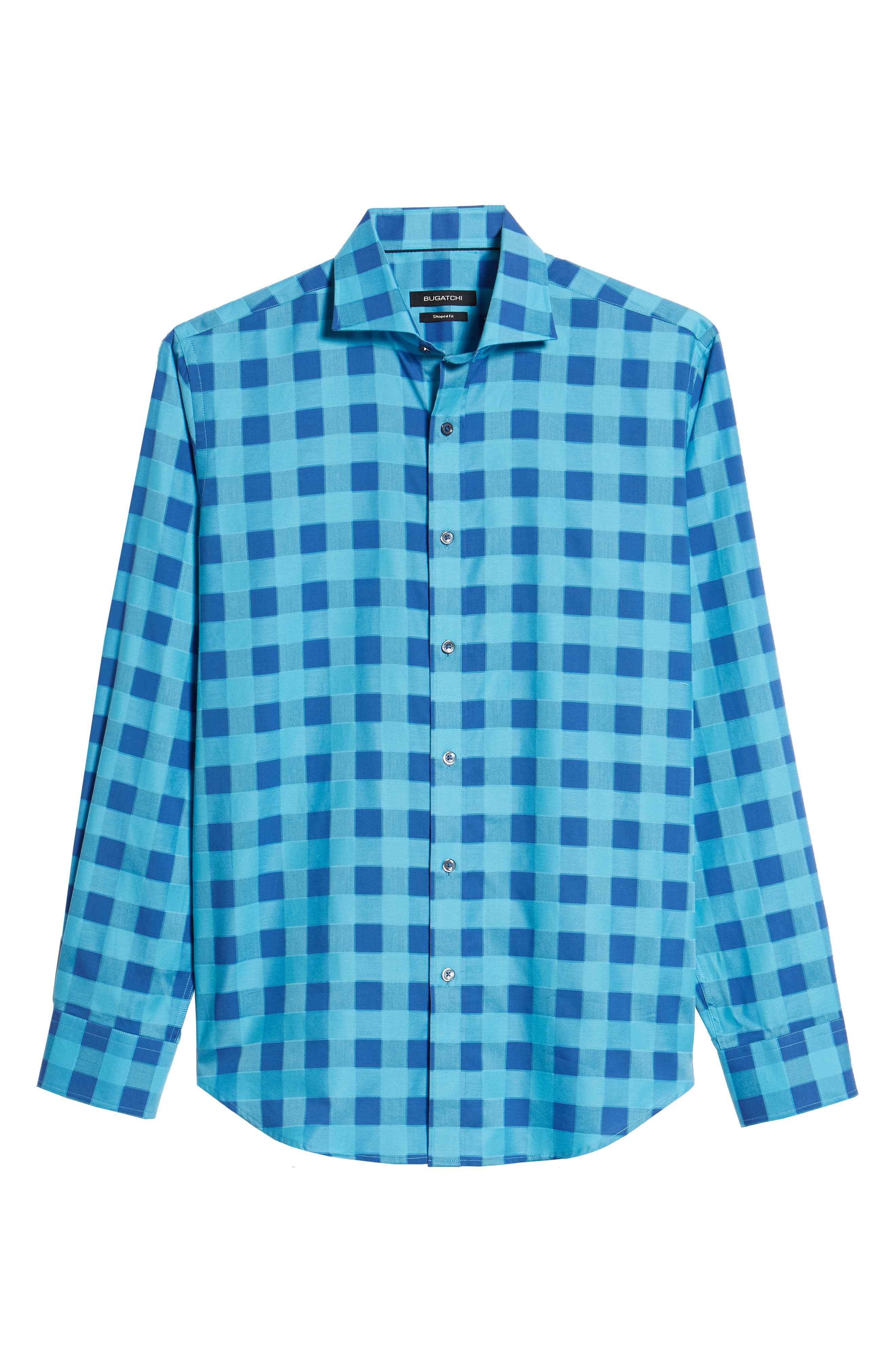 Shaped Fit Check Sport Shirt,                             Alternate thumbnail 6, color,                             Turquoise