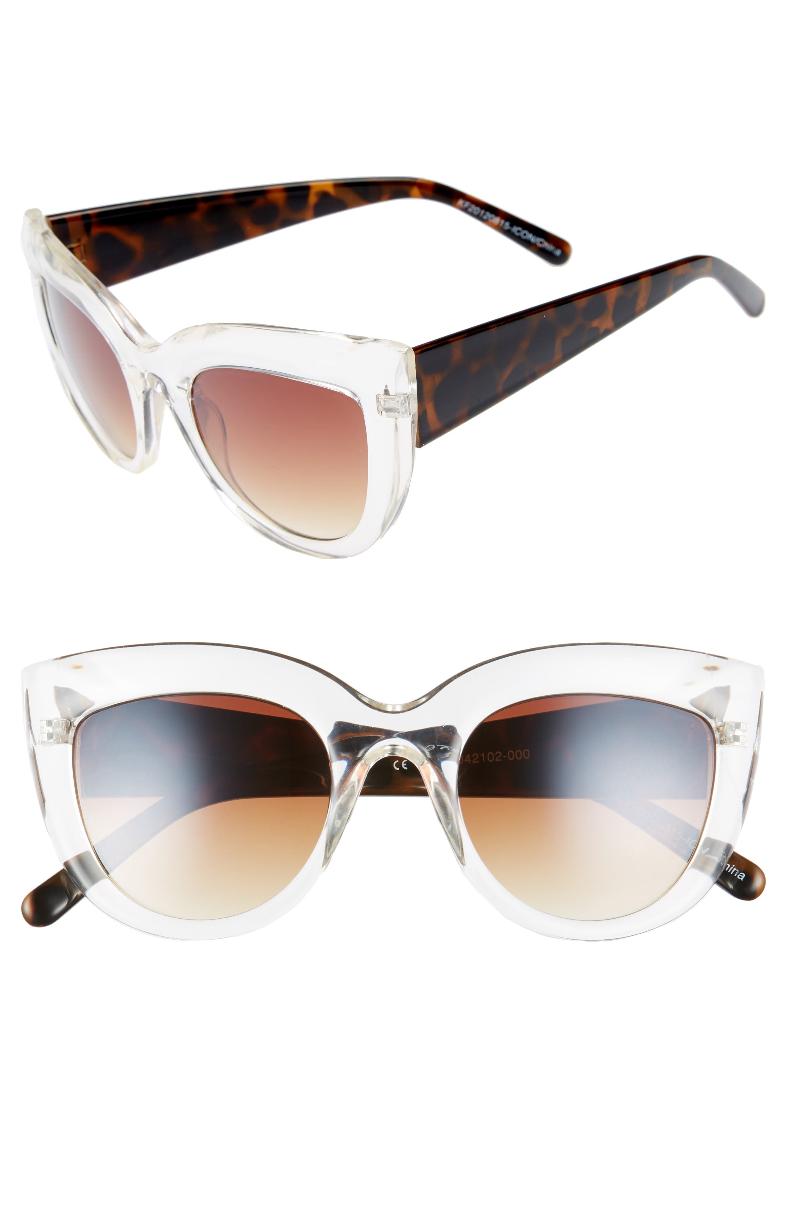 Translucent Cat Eye Sunglasses,                             Main thumbnail 1, color,                             Tort/ Clear