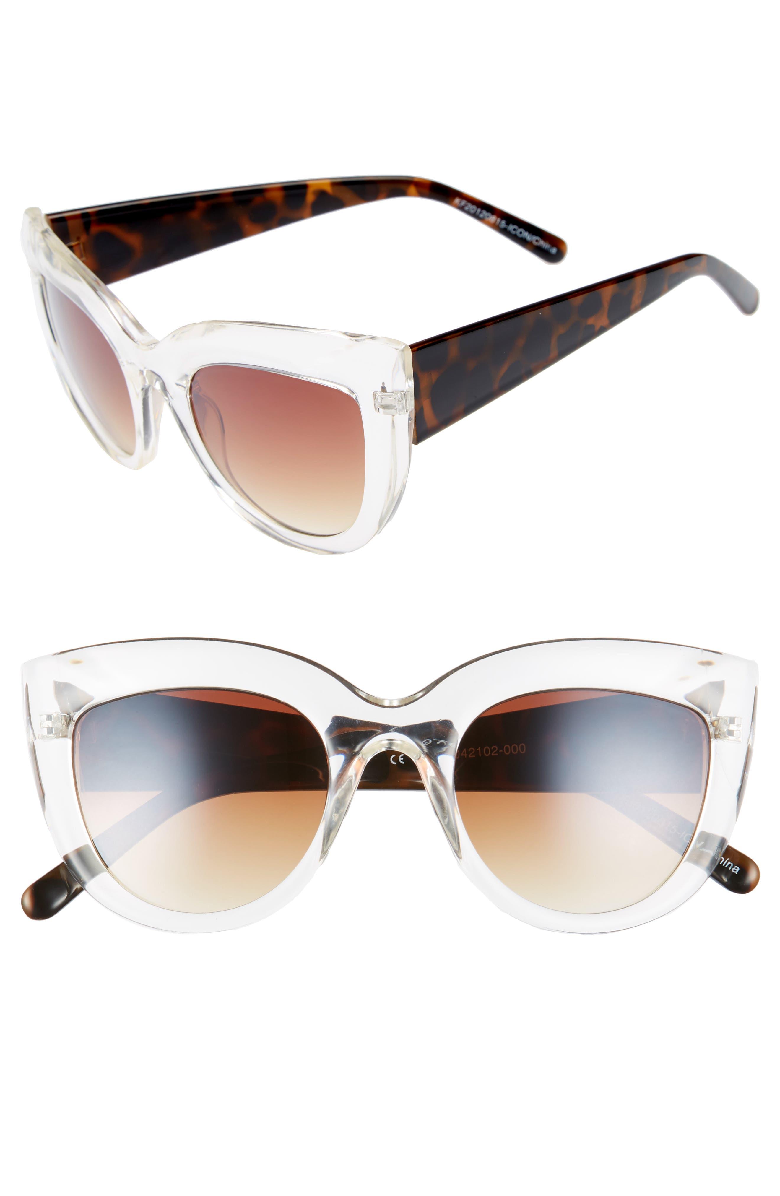 Translucent Cat Eye Sunglasses,                         Main,                         color, Tort/ Clear
