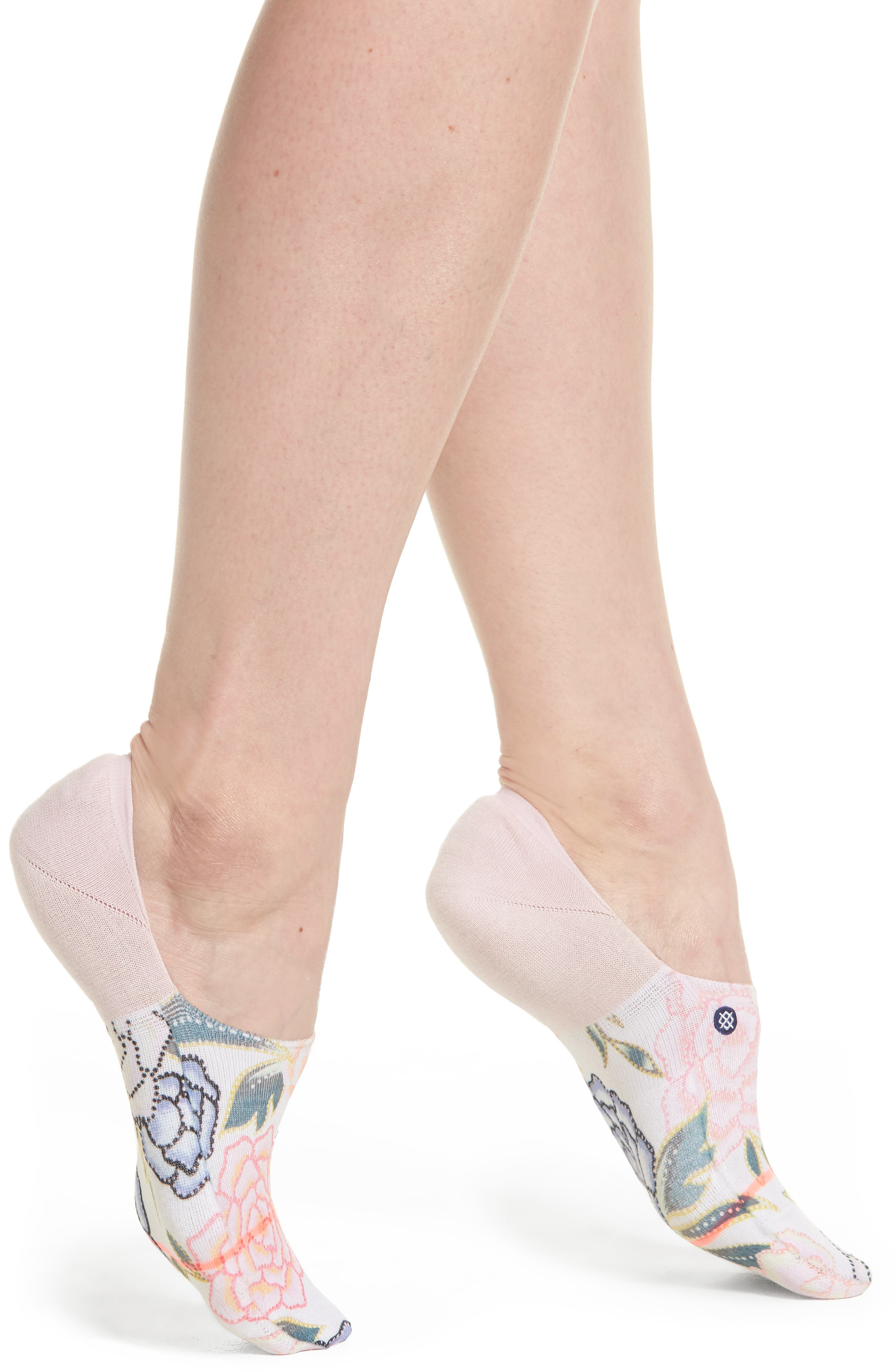 Posie Floral No-Show Socks,                             Main thumbnail 1, color,                             Lilac Ice