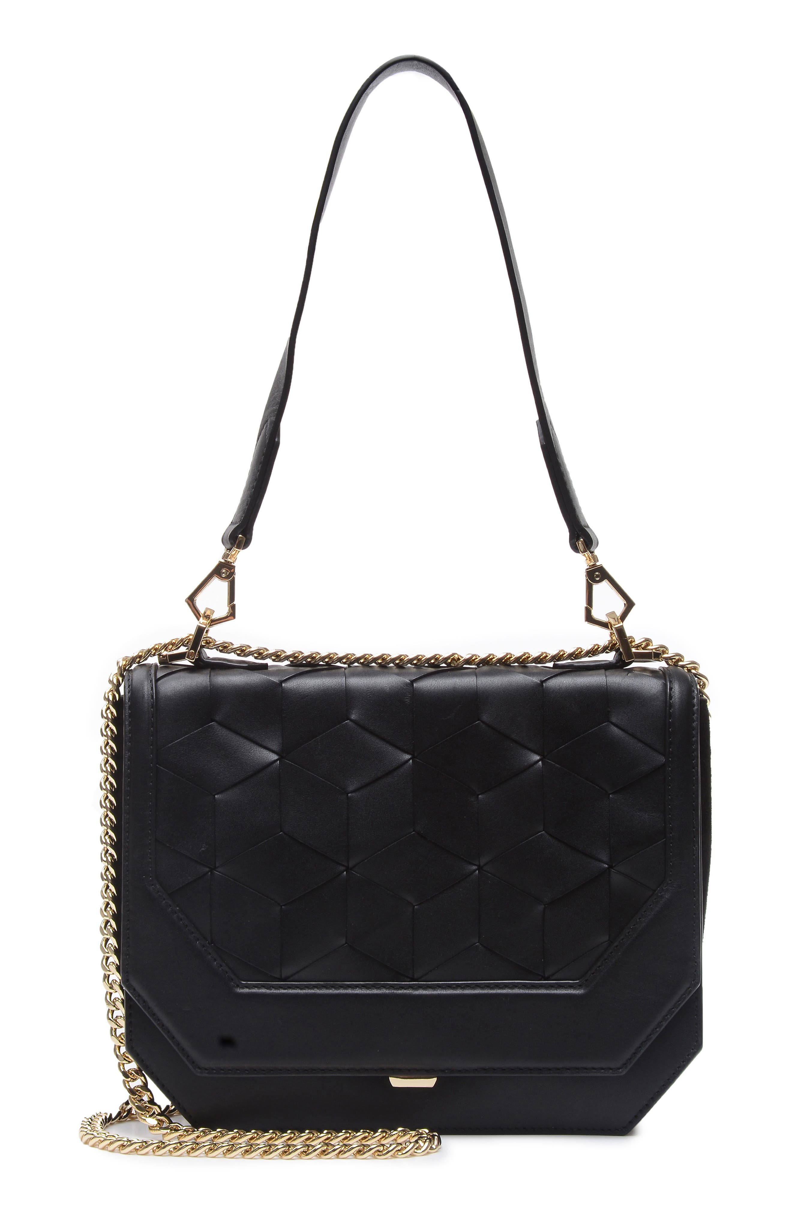 Supine Leather Shoulder Bag,                             Main thumbnail 1, color,                             Black