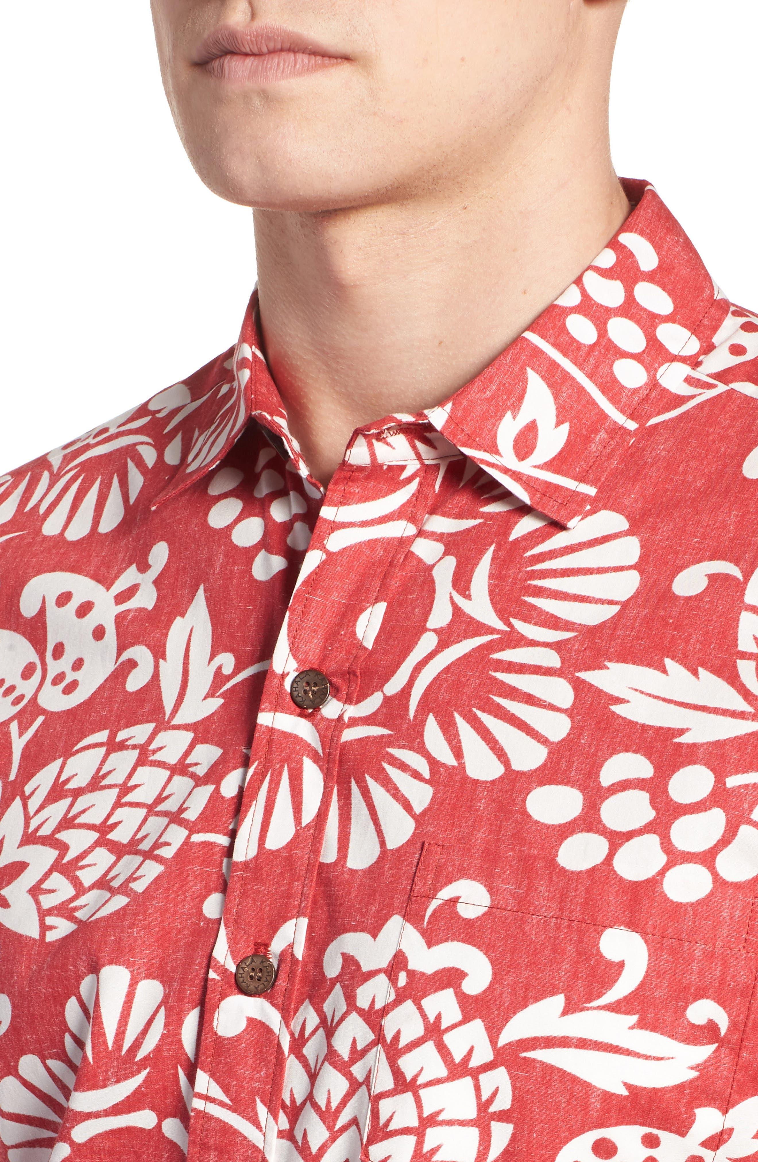 Duke's Pareo Trim Fit Sport Shirt,                             Alternate thumbnail 4, color,                             Surfer Red