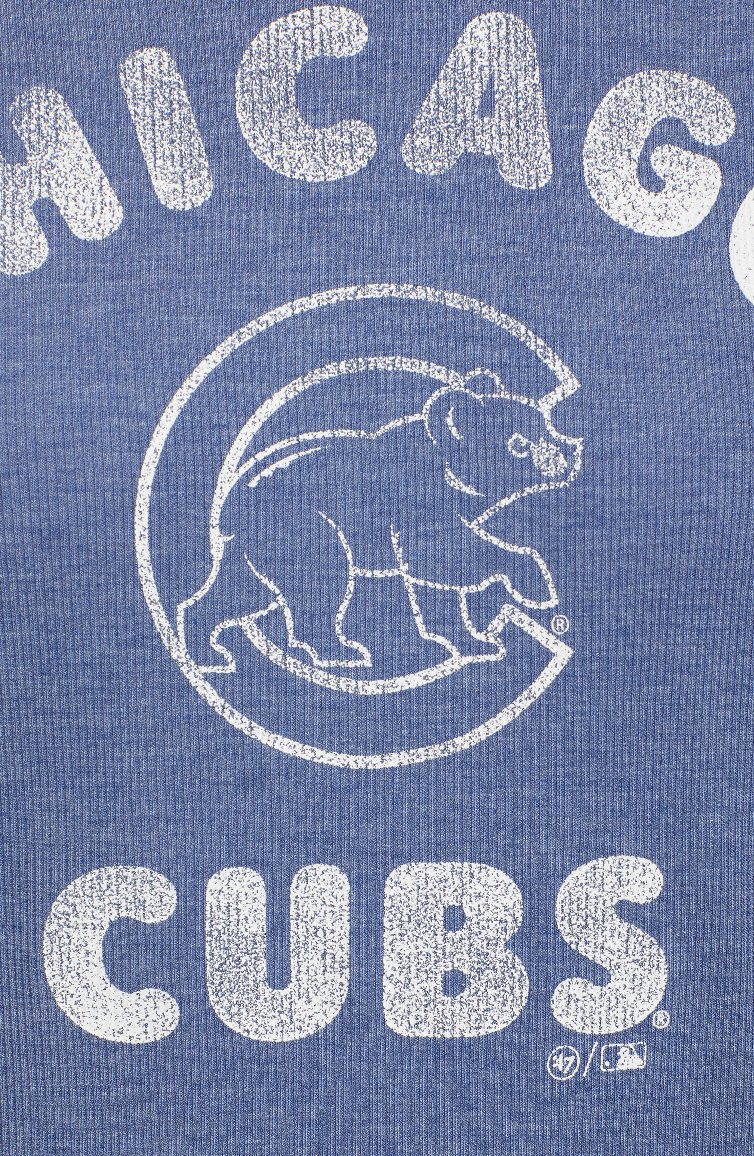 Campbell Chicago Cubs Rib Knit Hoodie,                             Alternate thumbnail 6, color,                             Bleacher Blue