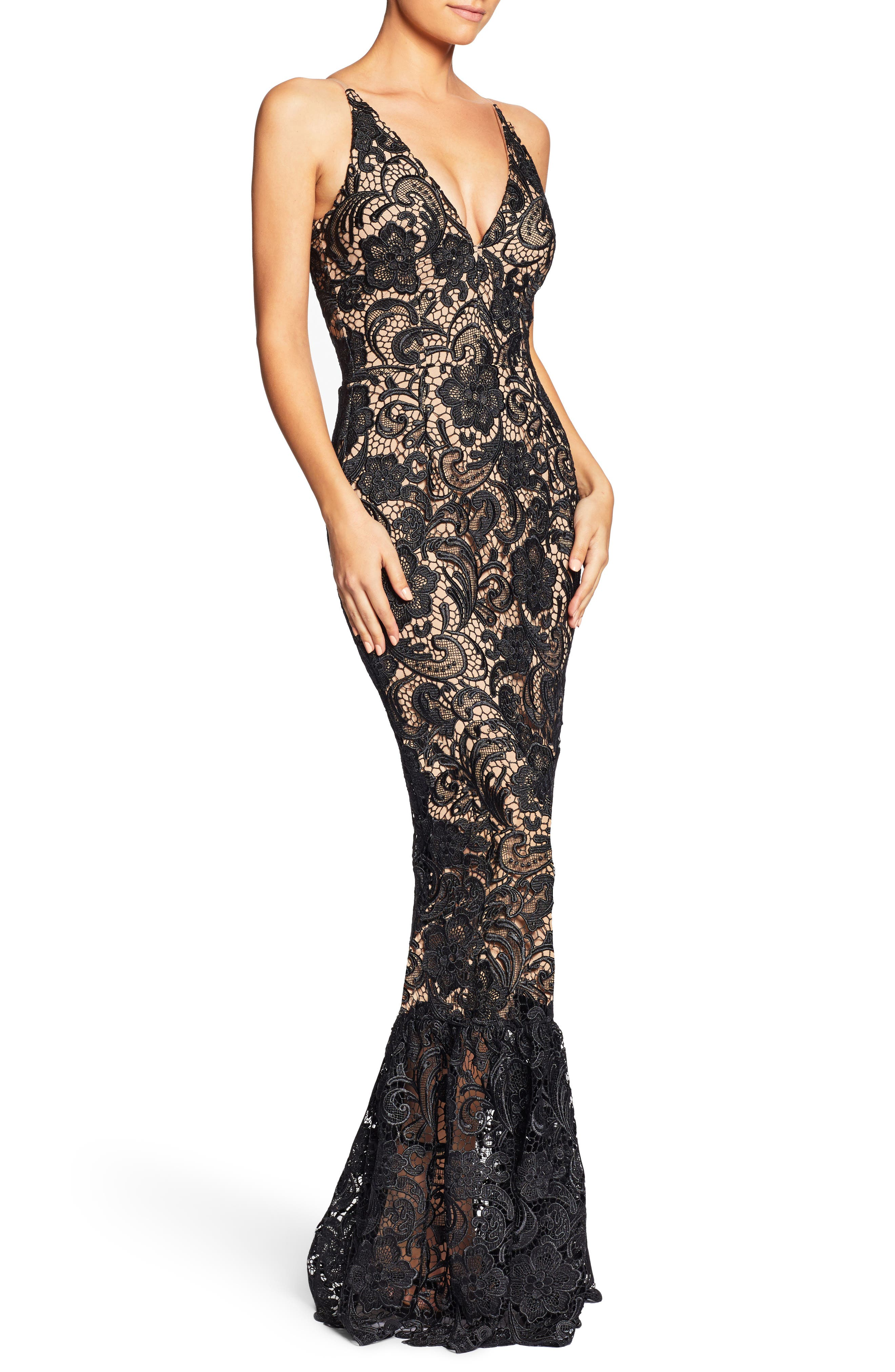 Sophia Crochet Lace Mermaid Gown,                             Alternate thumbnail 3, color,                             Black/ Nude