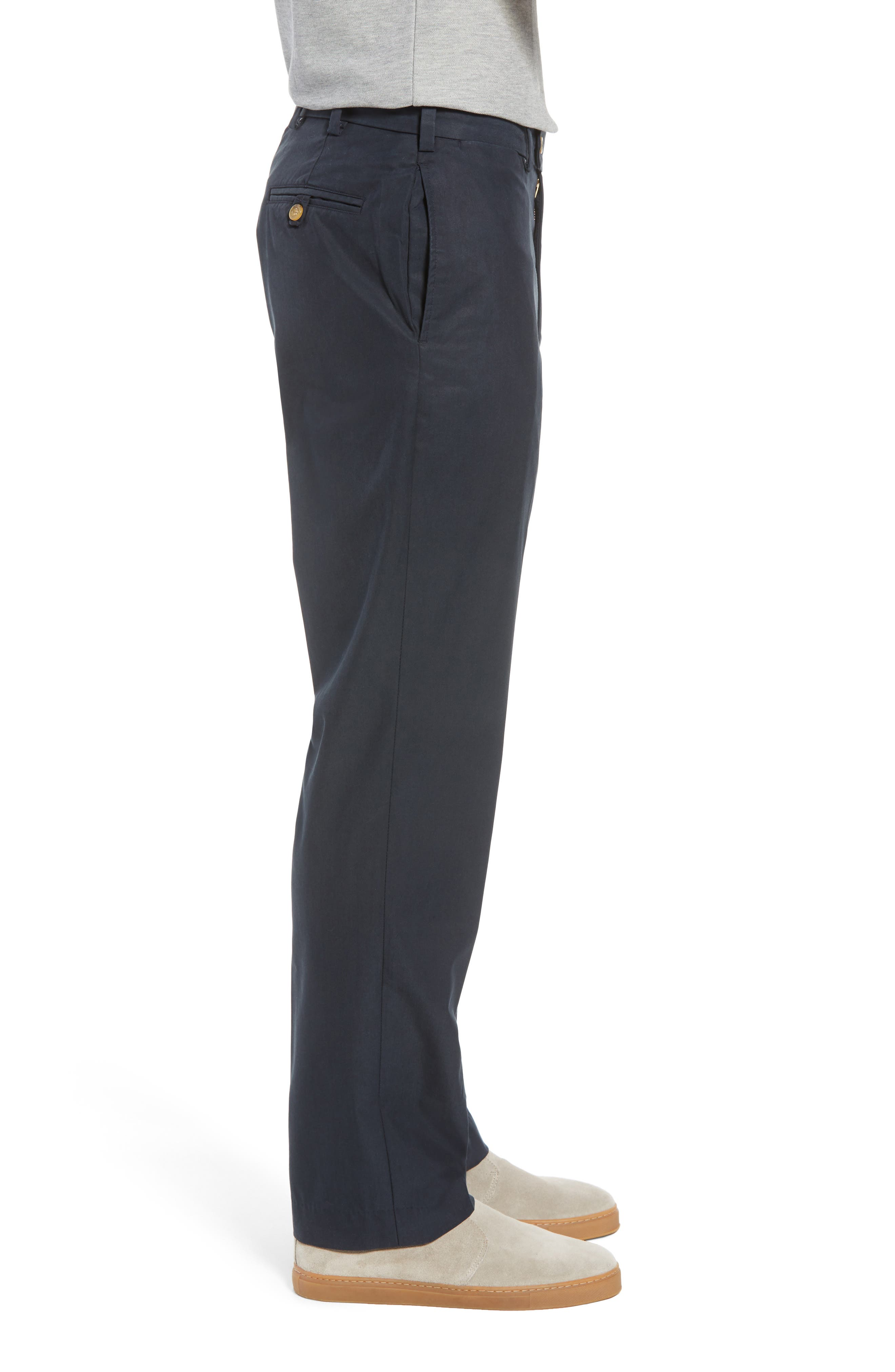 M2 Classic Fit Flat Front Travel Twill Pants,                             Alternate thumbnail 3, color,                             Navy