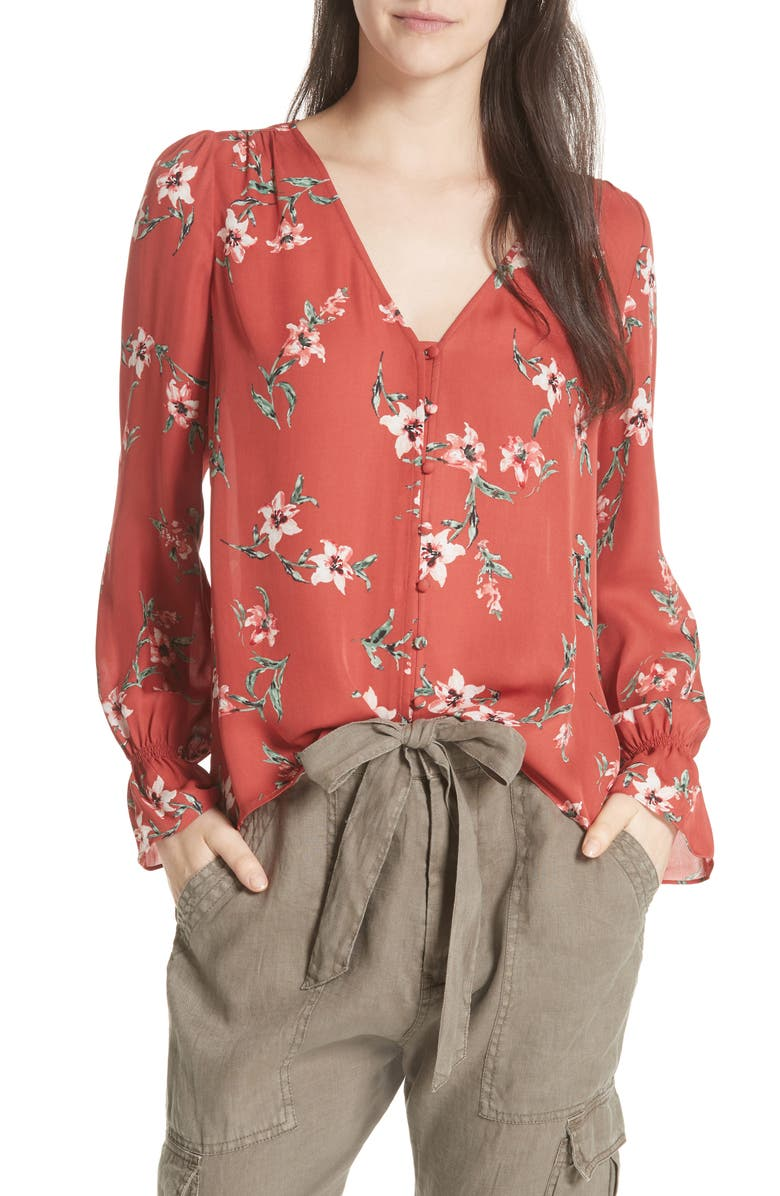 Bolona Peasant Sleeve Silk Top,                         Main,                         color, Cinnamon