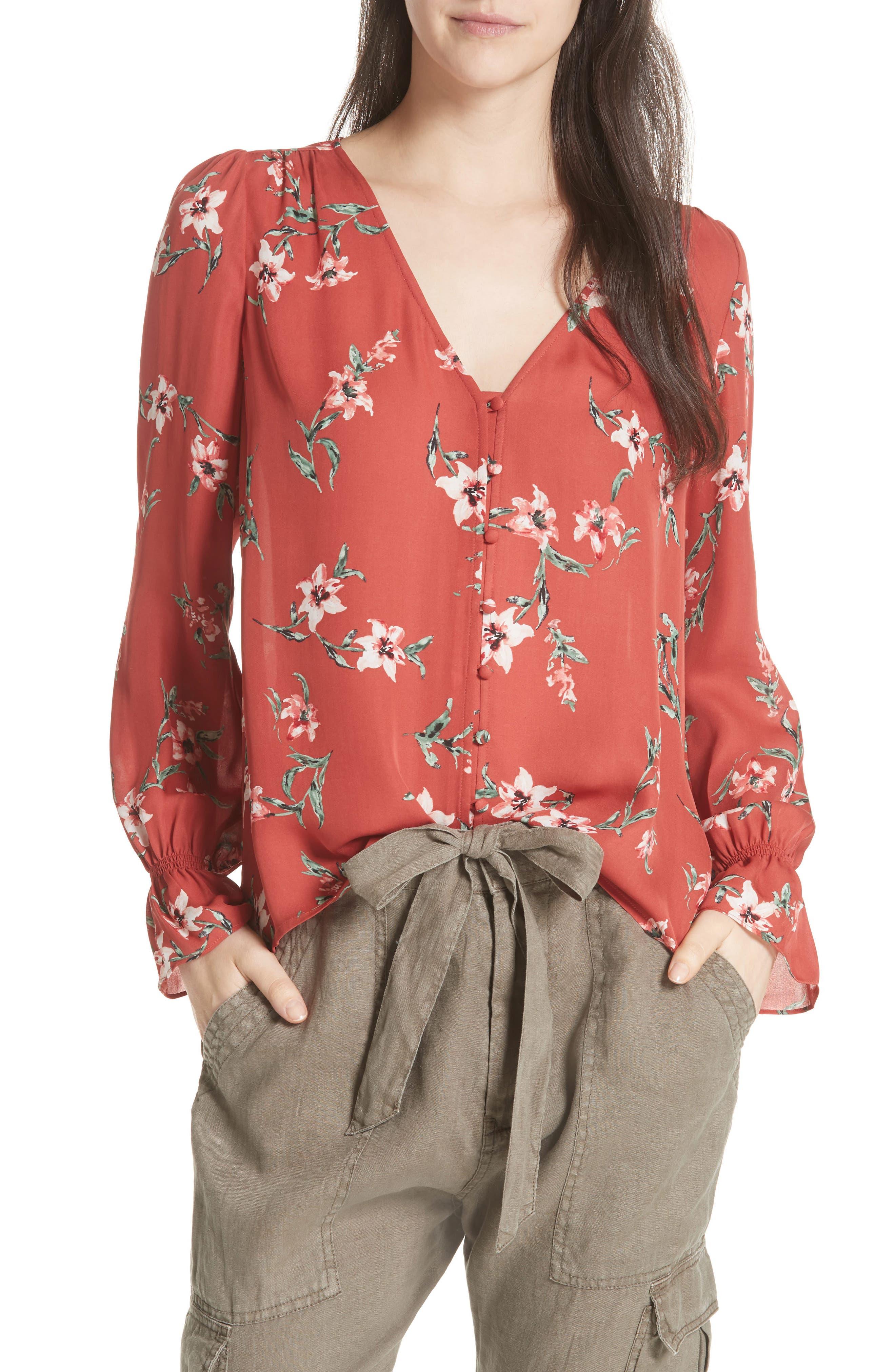 Joie Bolona Peasant Sleeve Silk Top