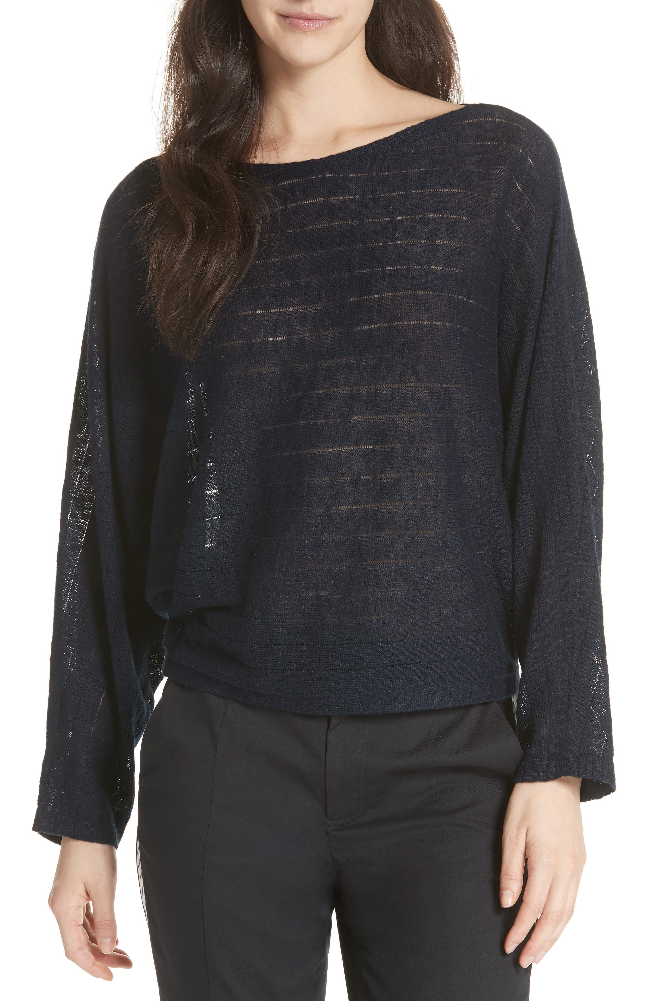 Ramie Cotton Sweater,                         Main,                         color, Midnight