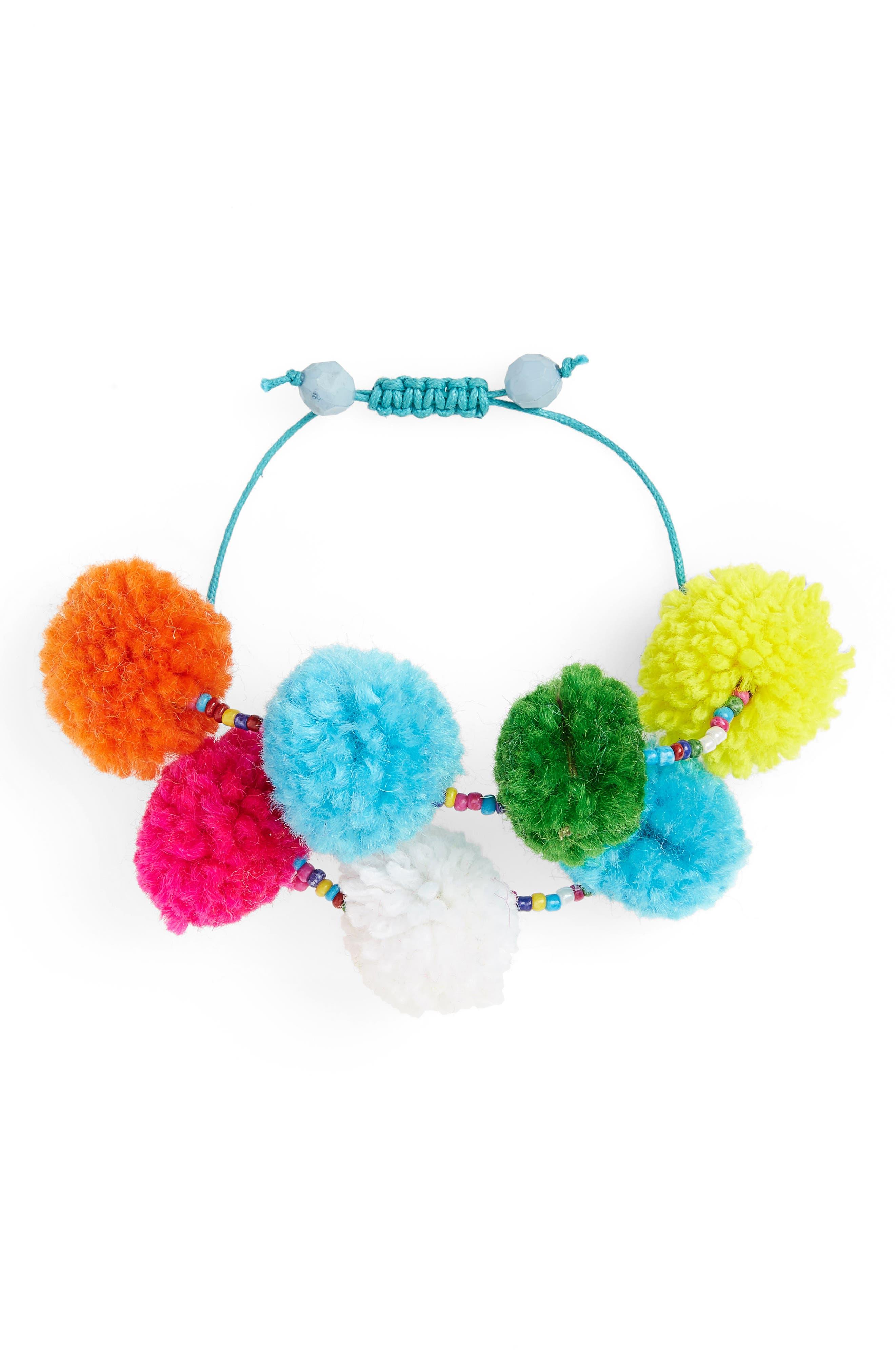 Pompom Bracelet,                             Main thumbnail 1, color,                             Multi