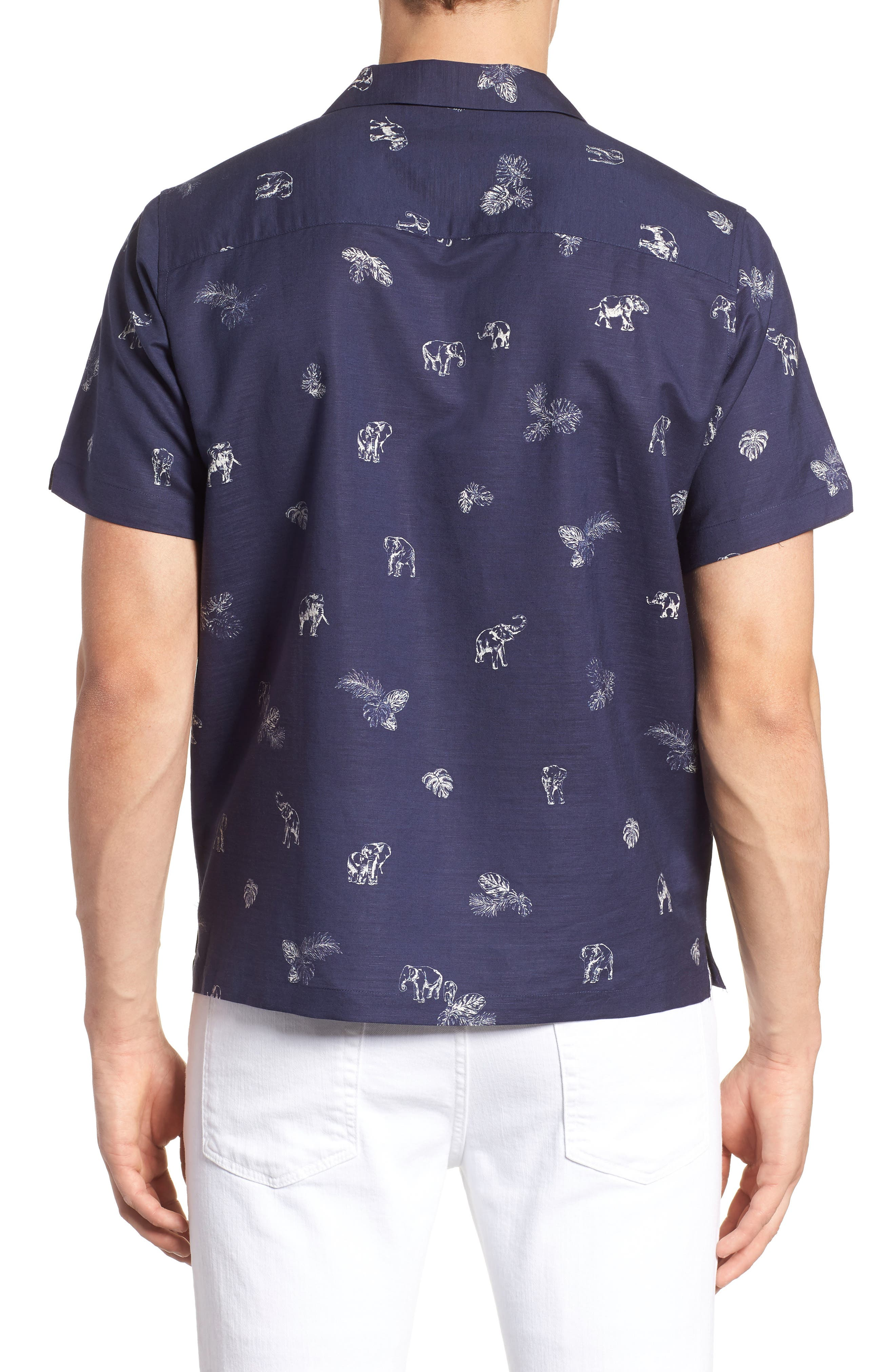 Sanctuary Trim Fit Linen & Cotton Camp Shirt,                             Alternate thumbnail 4, color,                             Navy