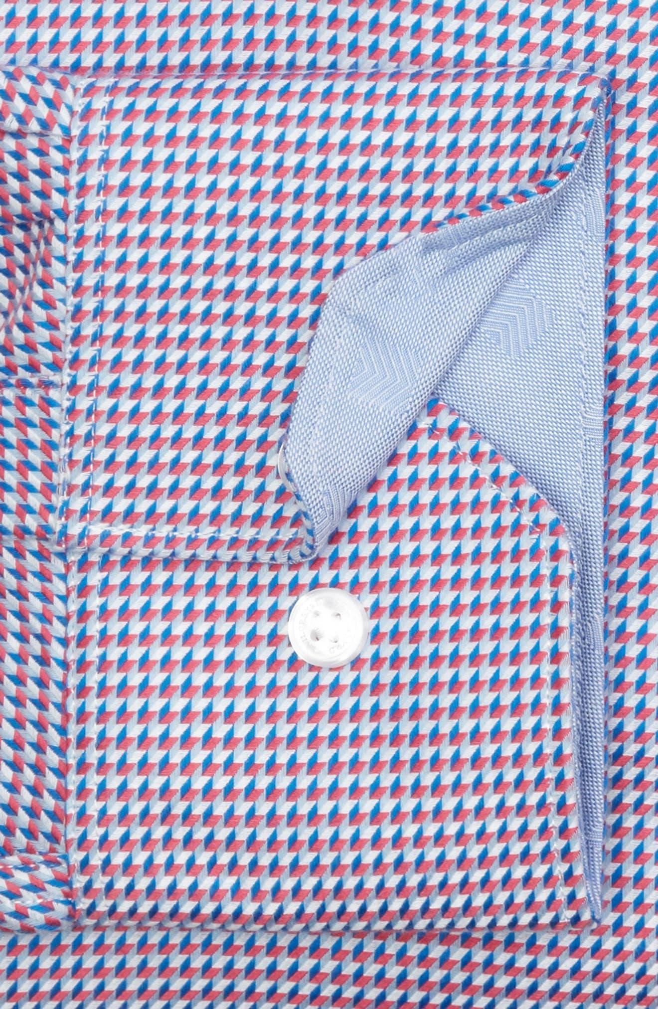 Axton Trim Fit Geometric Dress Shirt,                             Alternate thumbnail 5, color,                             Red/ Blue