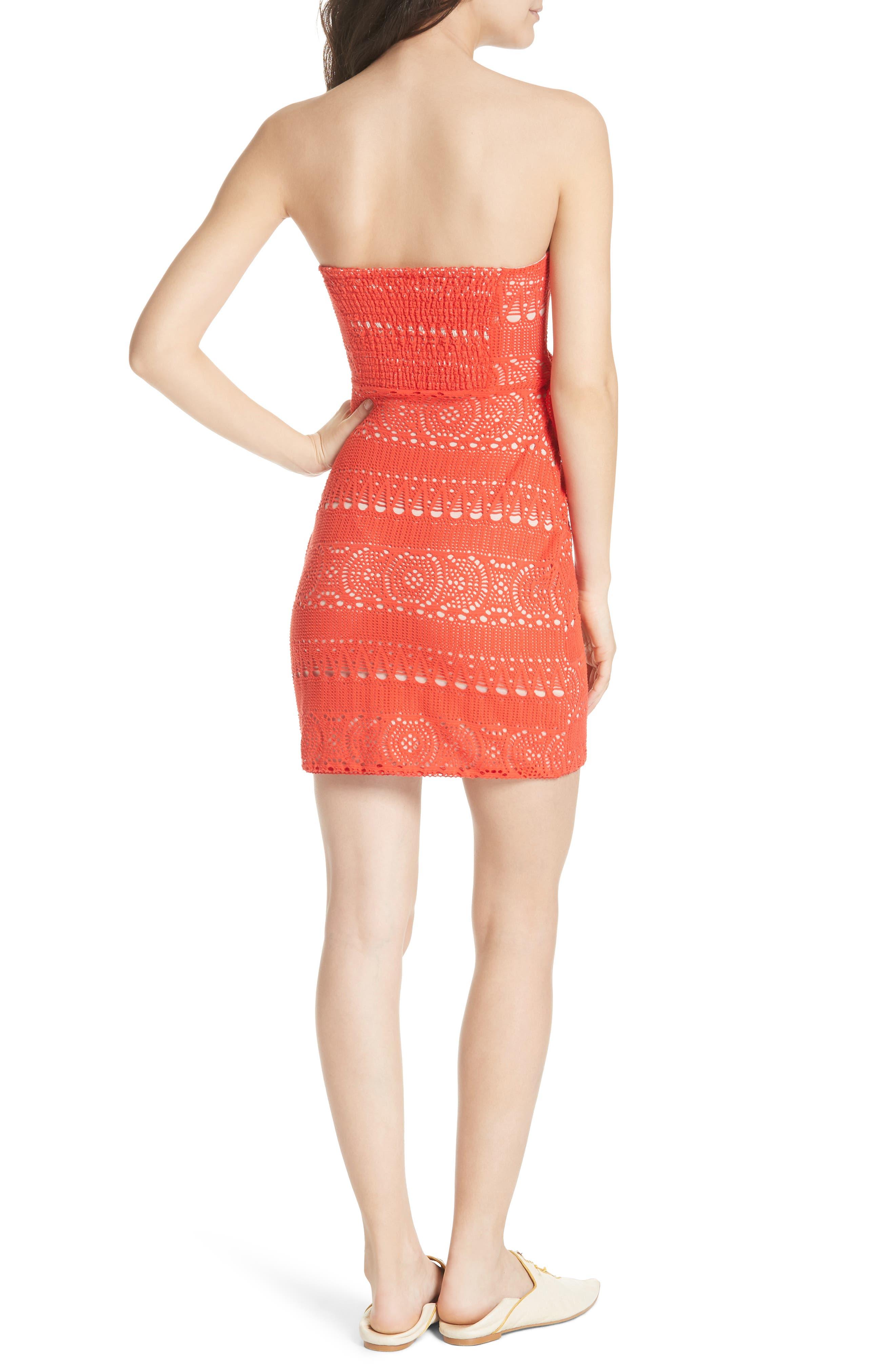 Oceanside Crochet Strapless Minidress,                             Alternate thumbnail 2, color,                             Red