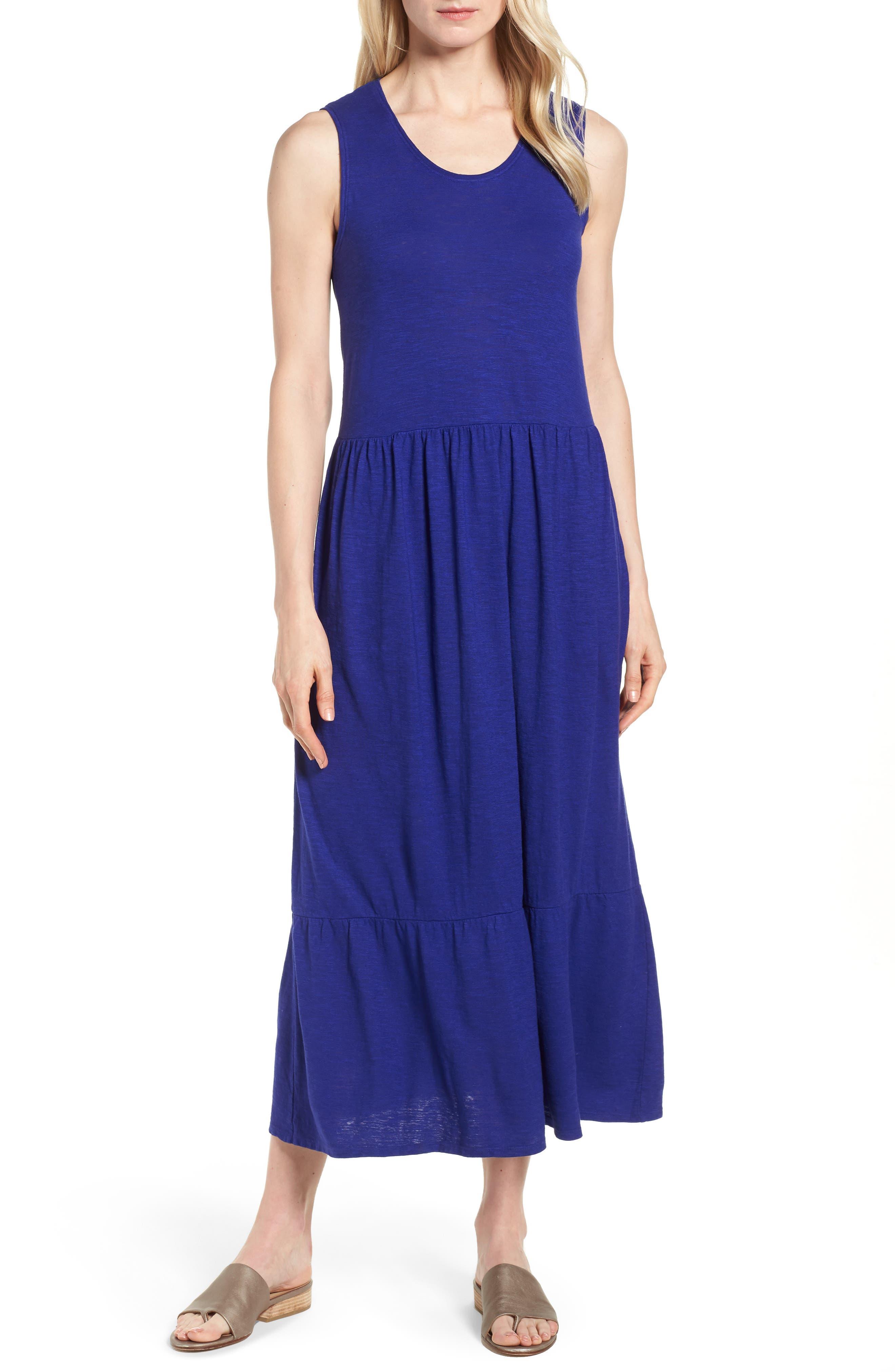 Scooped Neck Hemp & Cotton Midi Dress,                         Main,                         color, Blue Violet