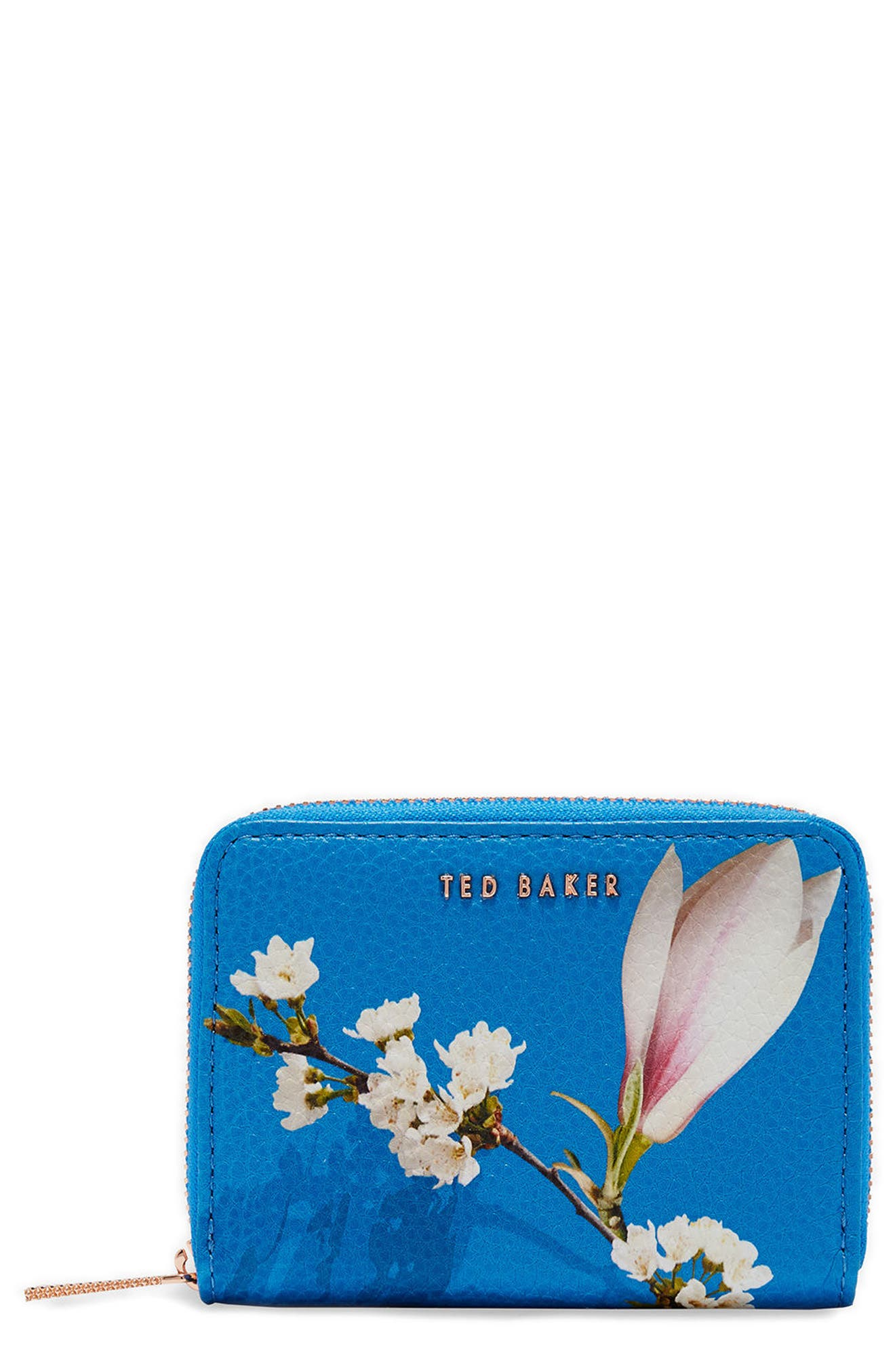 Corri Harmony Print Leather Zip Coin Purse,                             Main thumbnail 1, color,                             Bright Blue