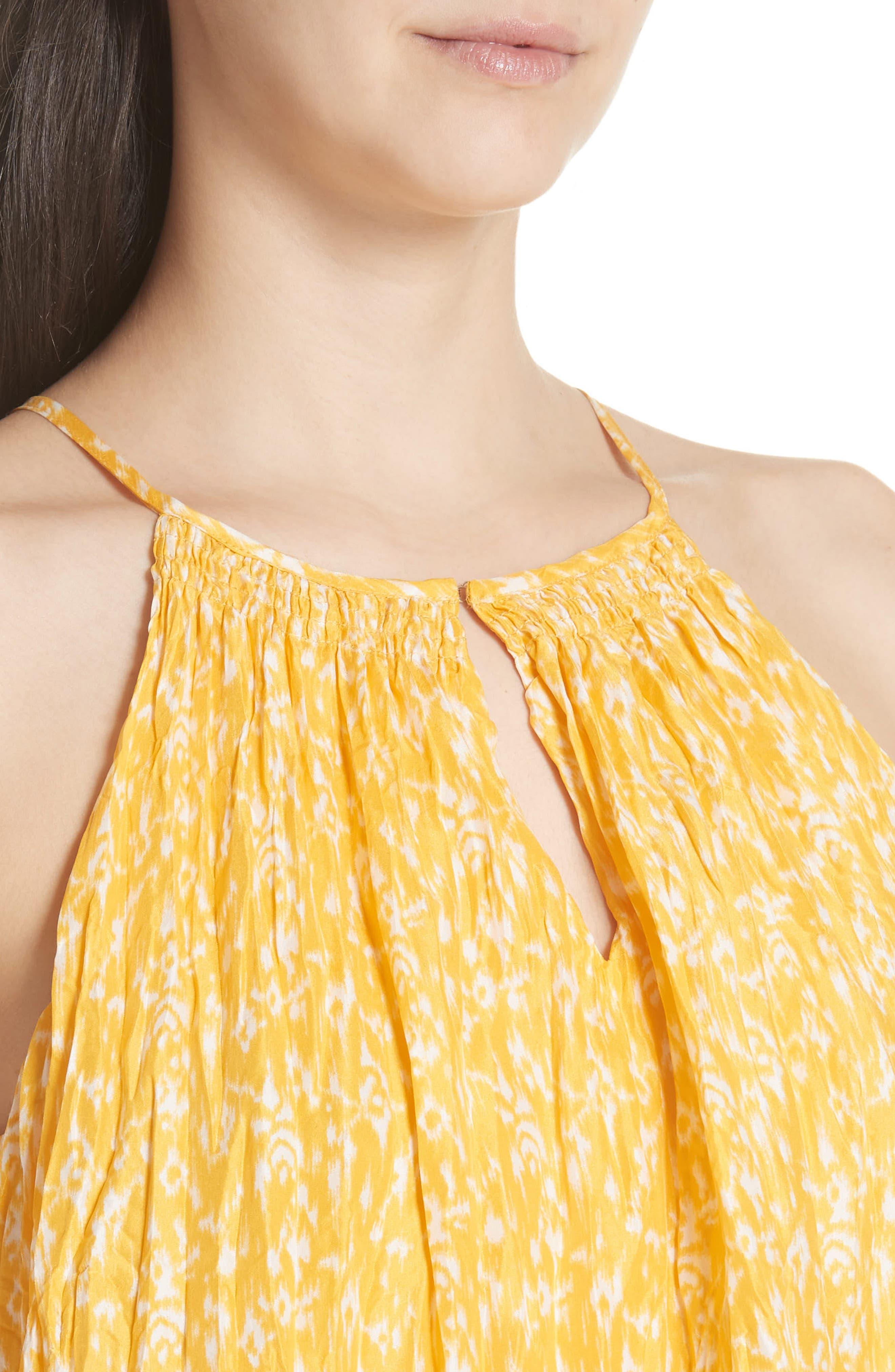 Hirota Crinkled Silk Keyhole Blouse,                             Alternate thumbnail 4, color,                             Corn Silk