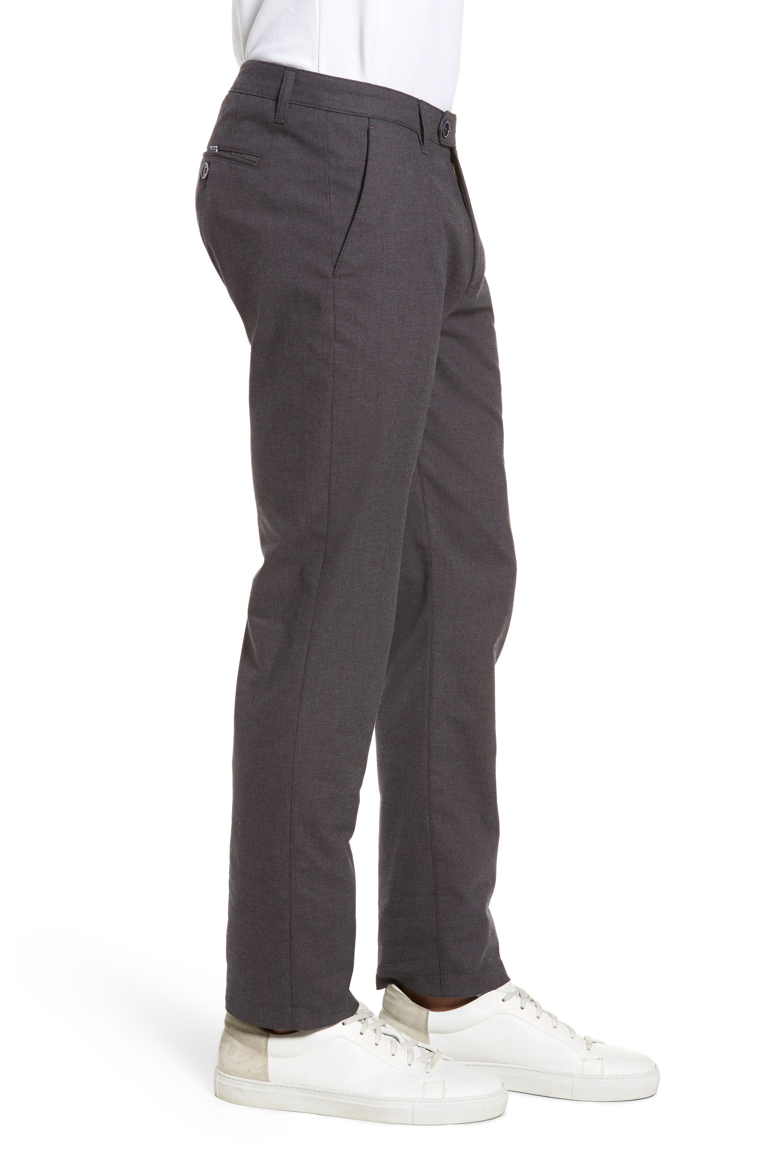 Holldet Flat Front Stretch Solid Cotton Pants,                             Alternate thumbnail 3, color,                             Charcoal