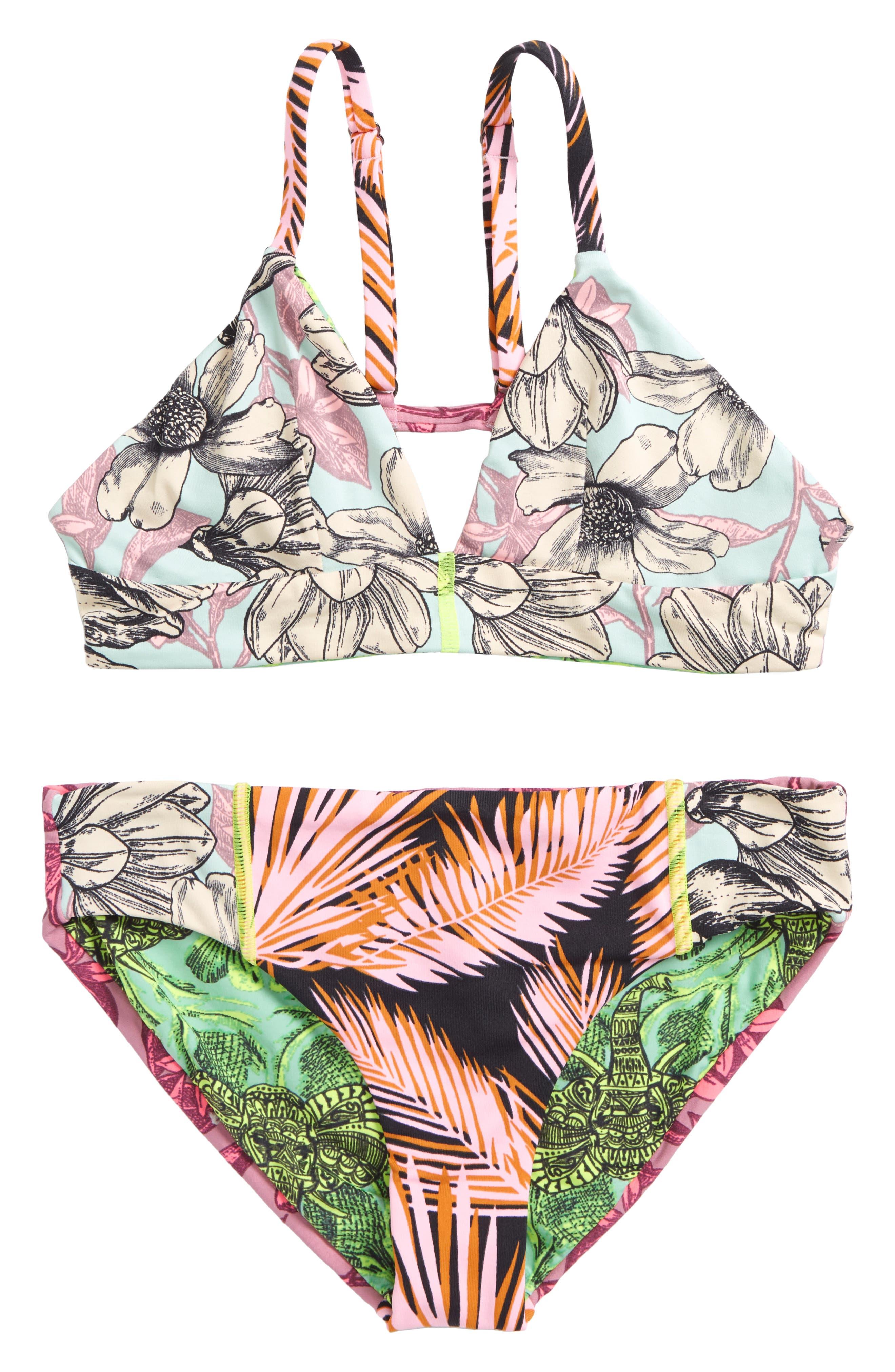Timia Landscape Reversible Two-Piece Swimsuit,                         Main,                         color, Pink
