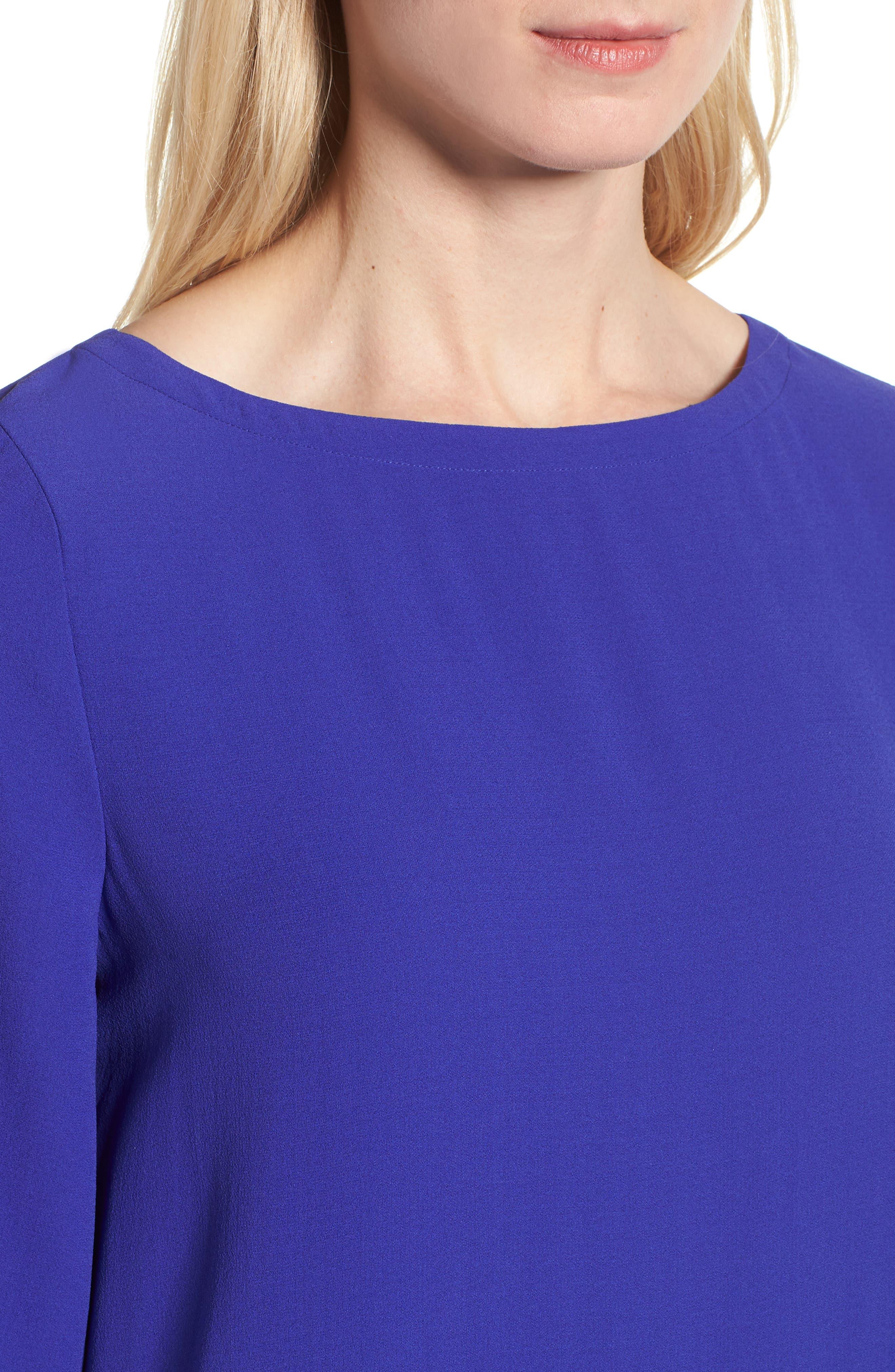 Drop Waist Silk Dress,                             Alternate thumbnail 4, color,                             Blue Violet
