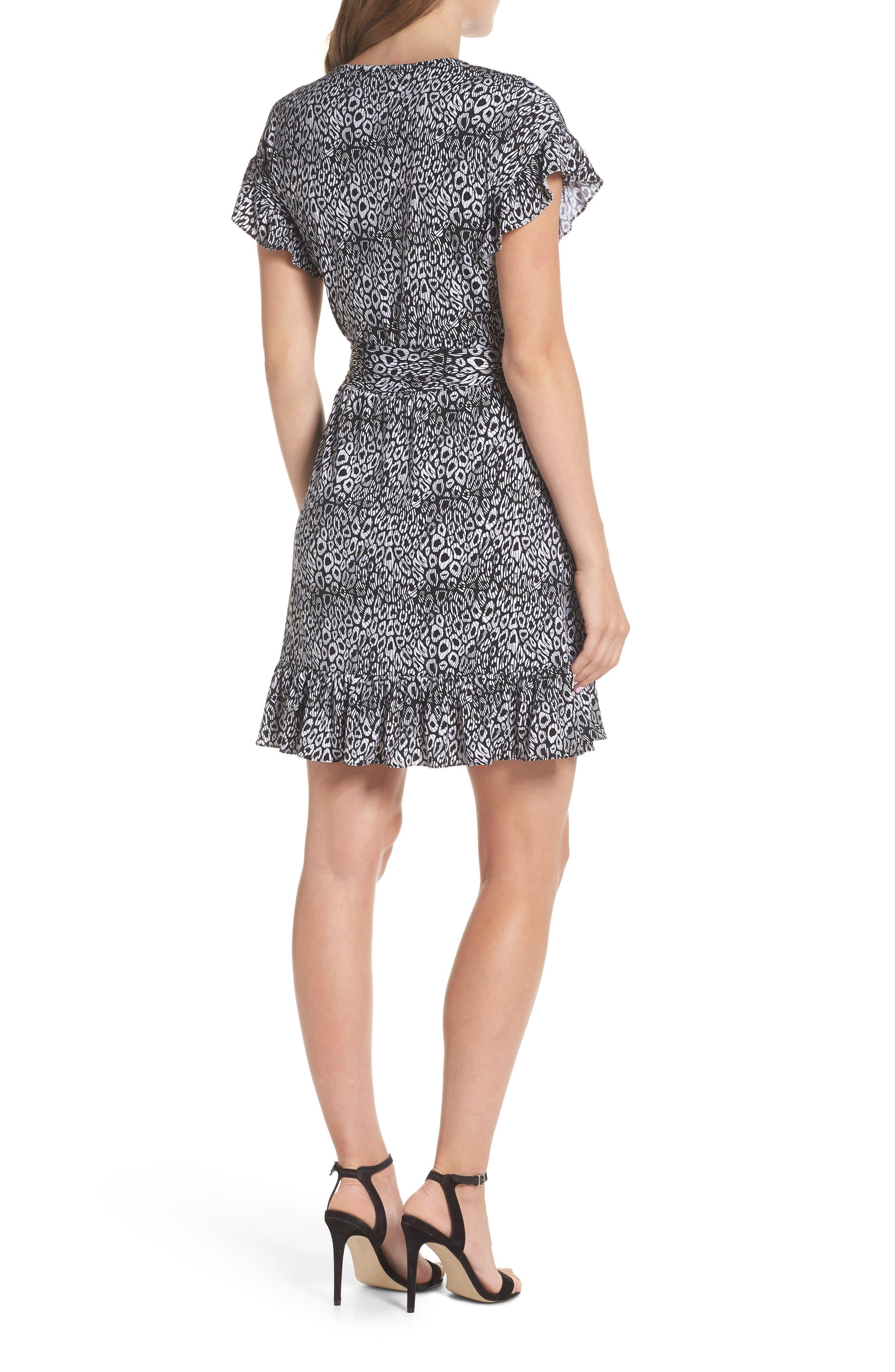 Wavy Leopard Print Ruffle Dress,                             Alternate thumbnail 2, color,                             Black/ White