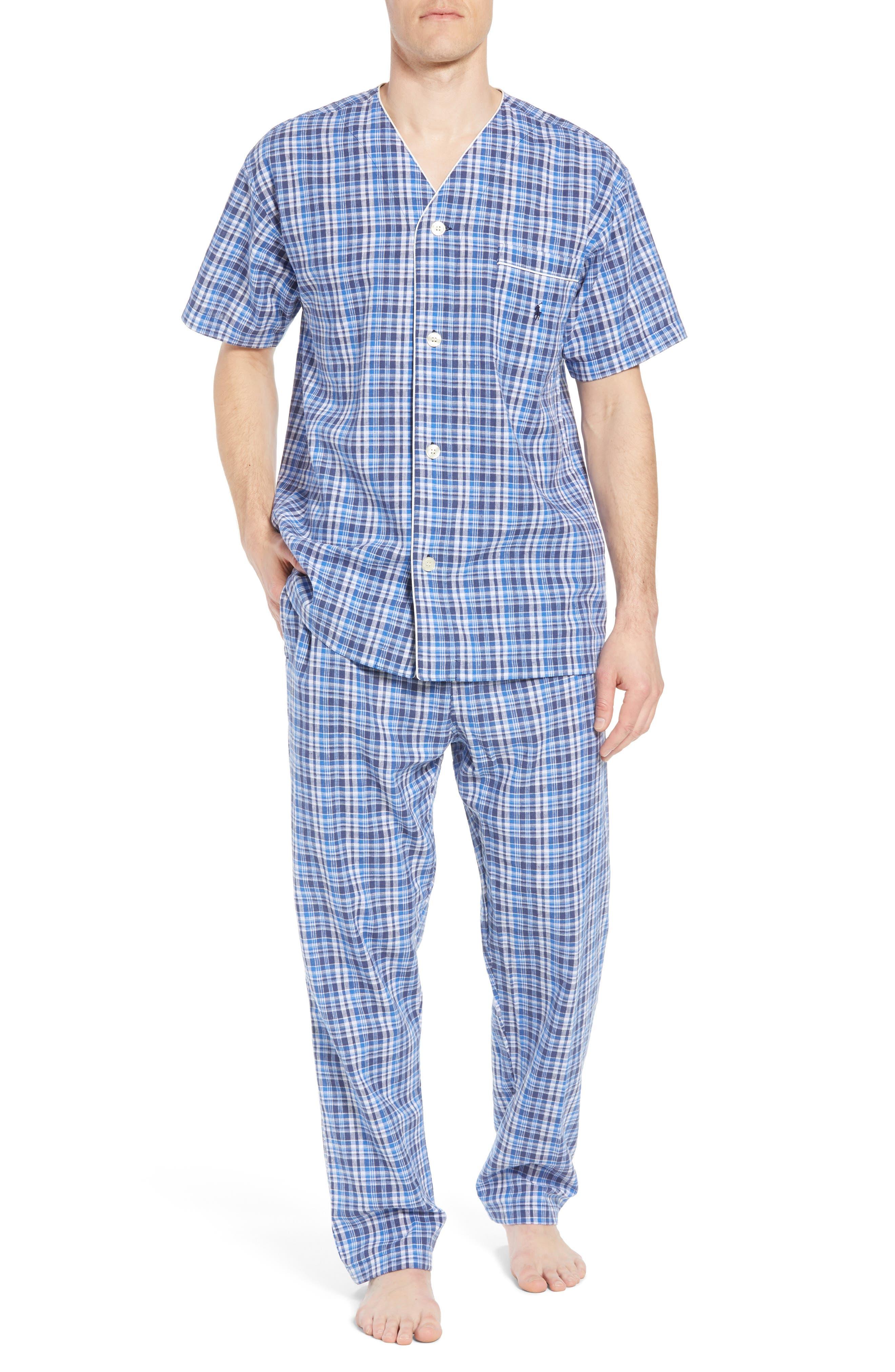 Walker Plaid Cotton & Linen Pajama Pants,                             Alternate thumbnail 6, color,                             Walker Plaid/ Cruise Navy
