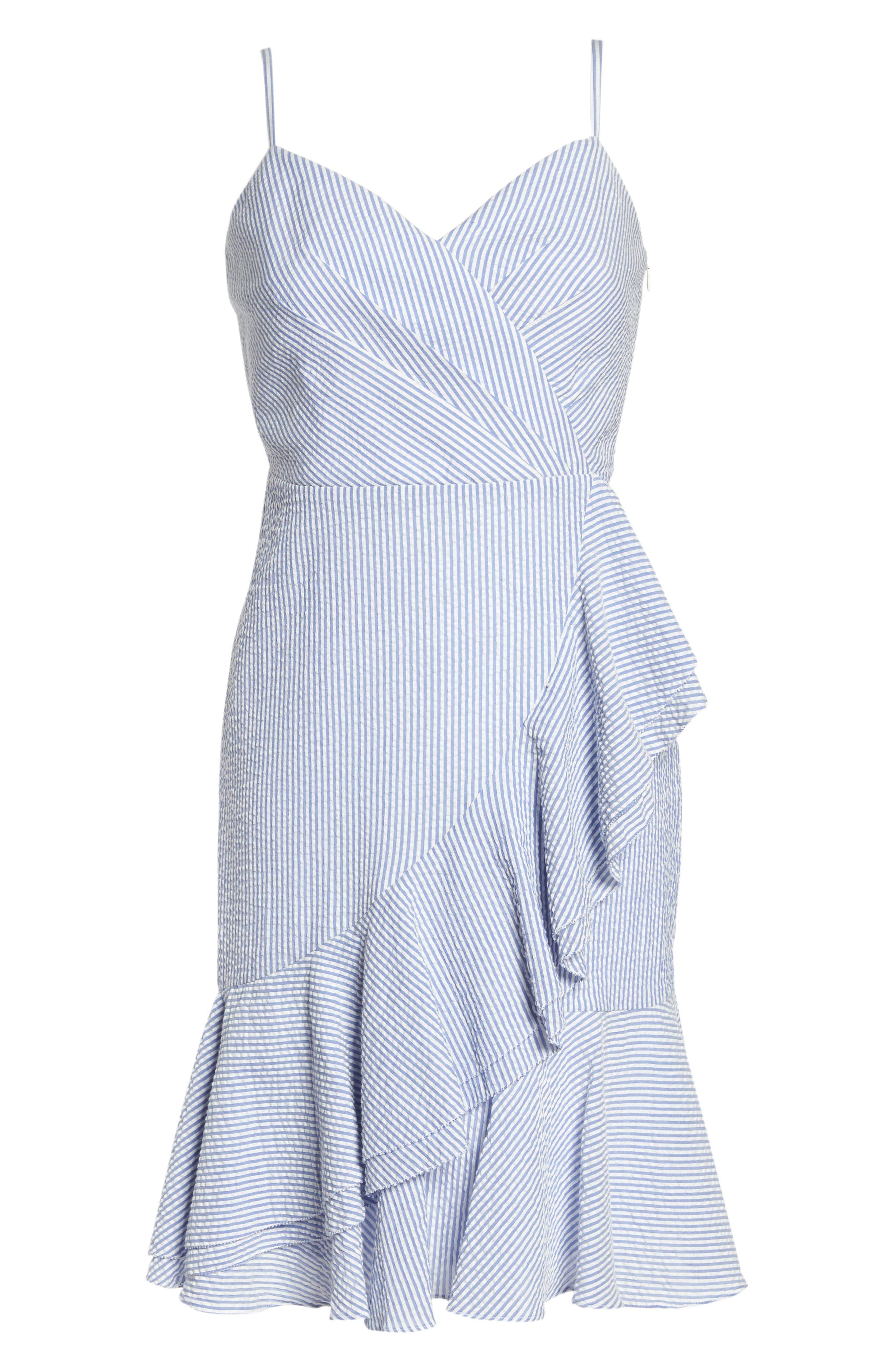 J.Crew Spaghetti Strap Ruffle Dress,                             Alternate thumbnail 6, color,                             Blue White