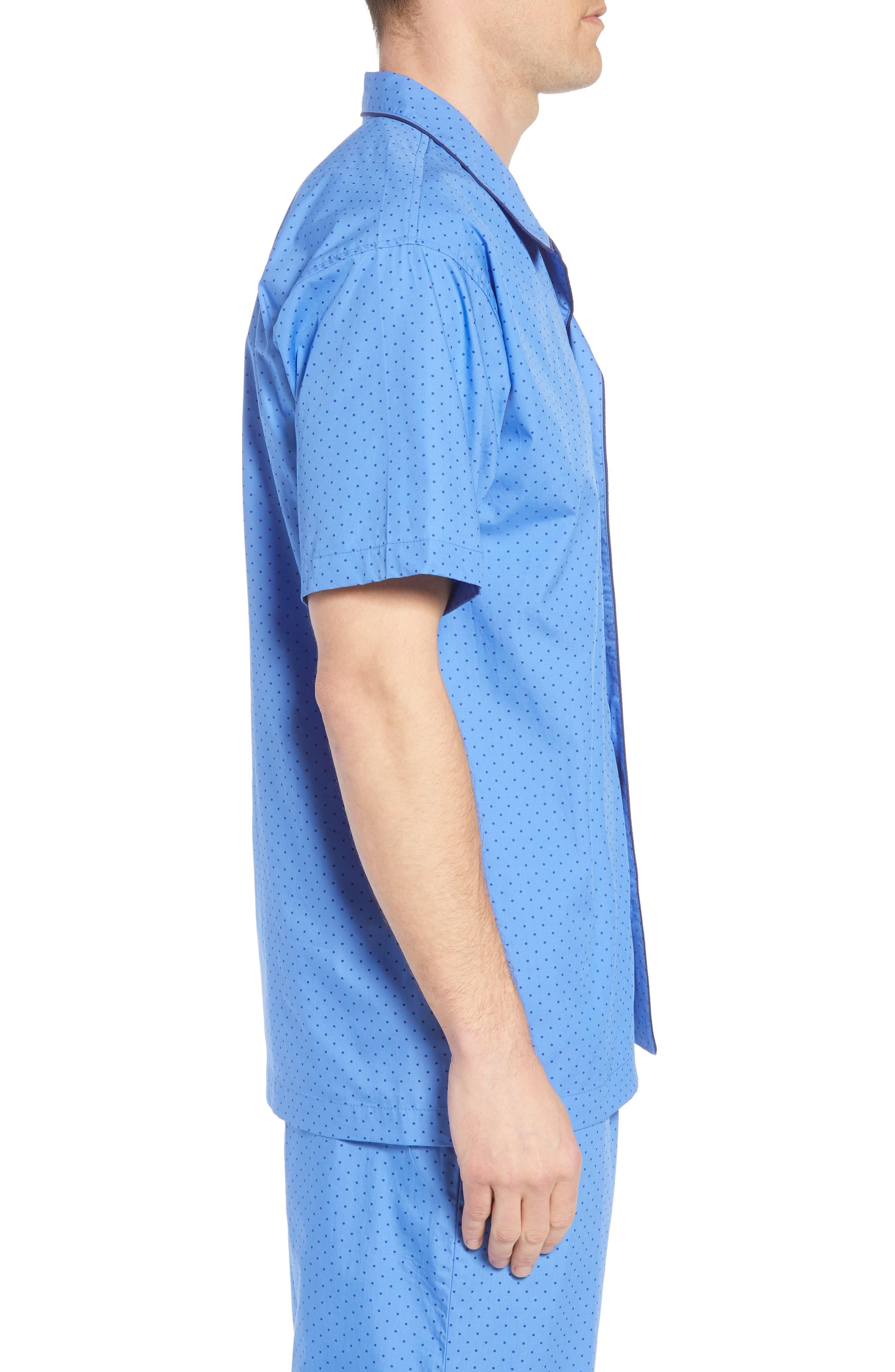 Dot Cotton Pajama Shirt,                             Alternate thumbnail 3, color,                             Harbour Island Blue/ Navy