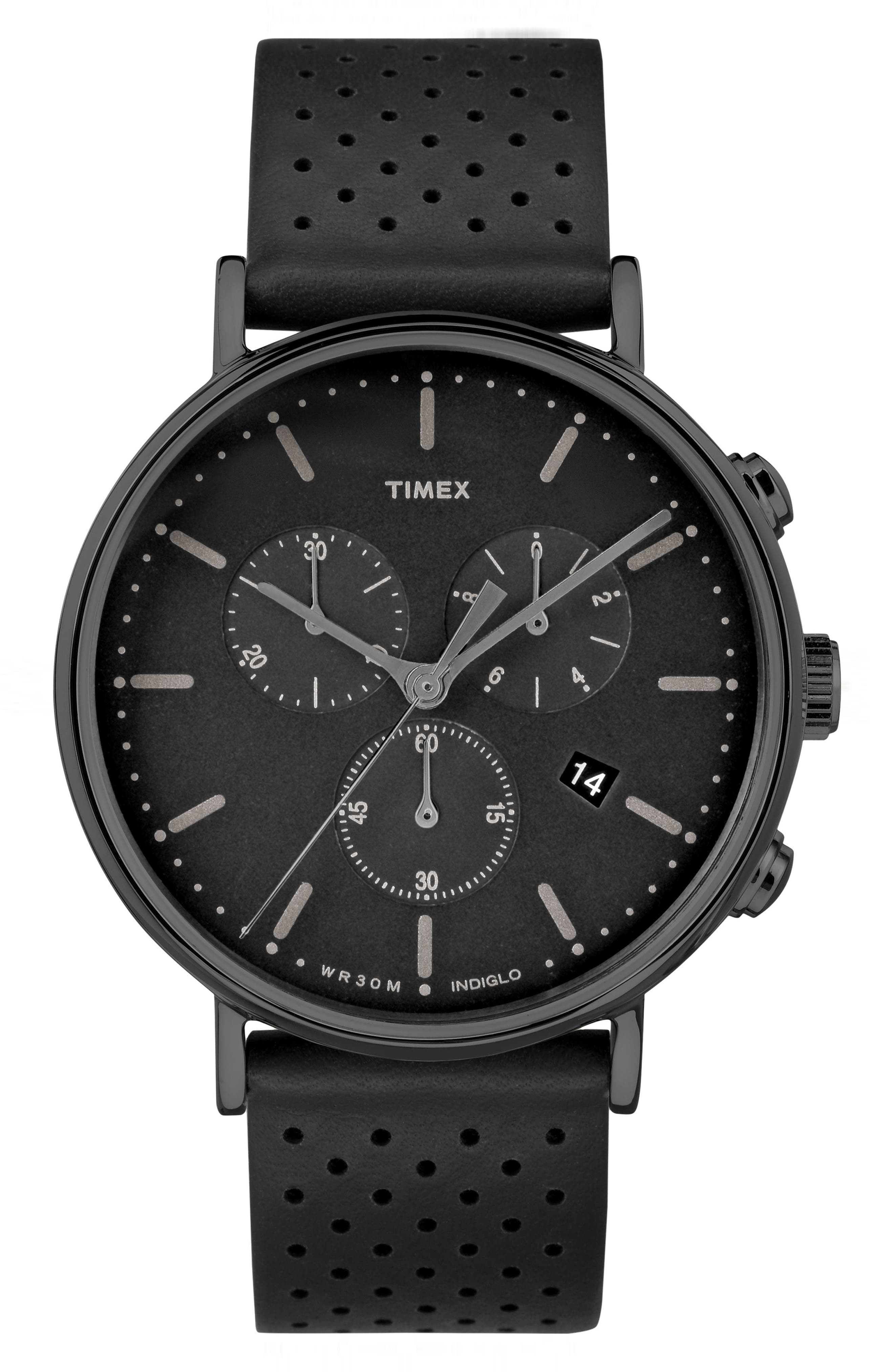 Fairfield Chronograph Leather Strap Watch, 41mm,                             Main thumbnail 1, color,                             Black