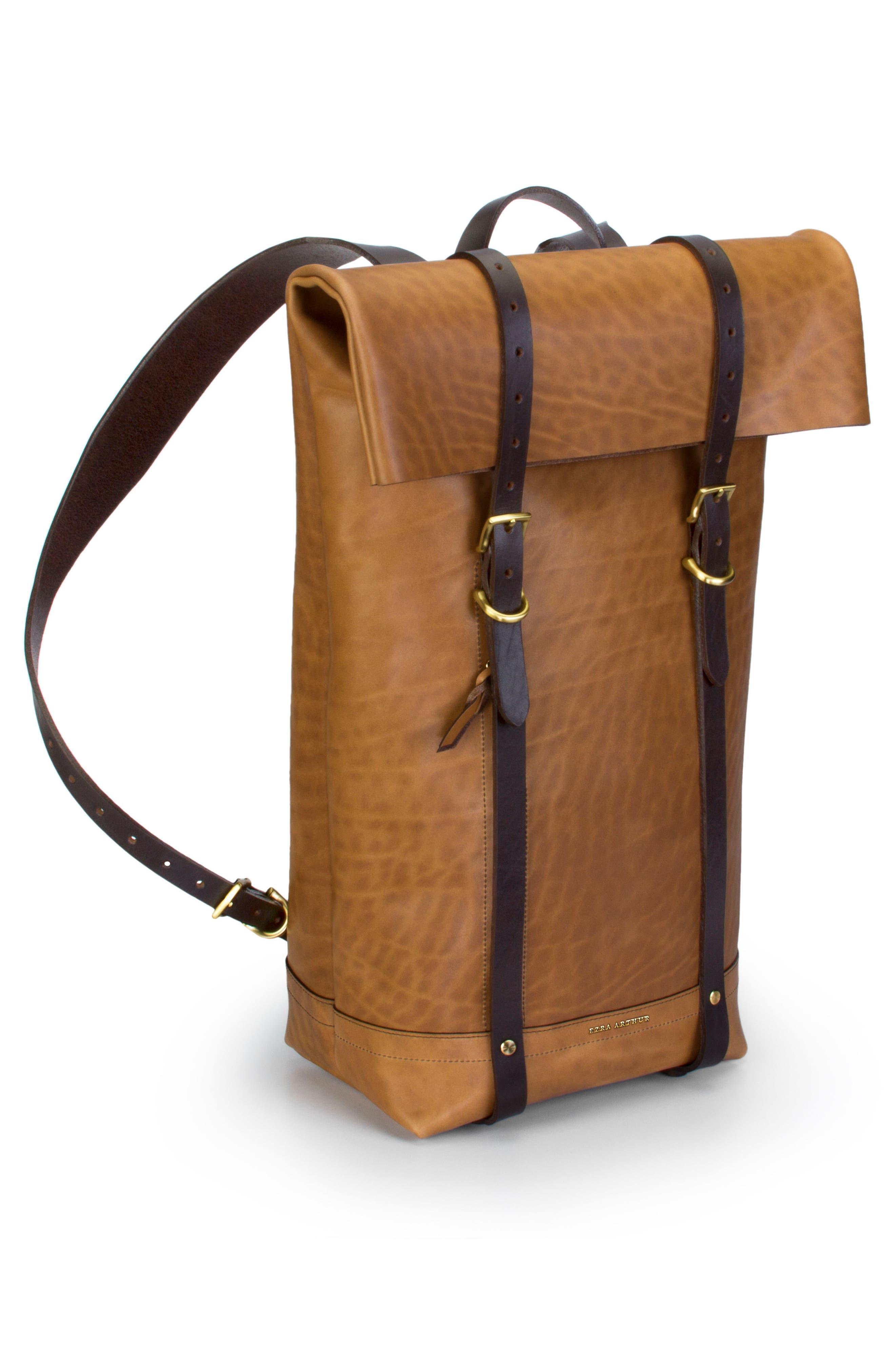 Keystone Brass Detail Leather Rucksack,                             Alternate thumbnail 4, color,                             Whiskey / Brass