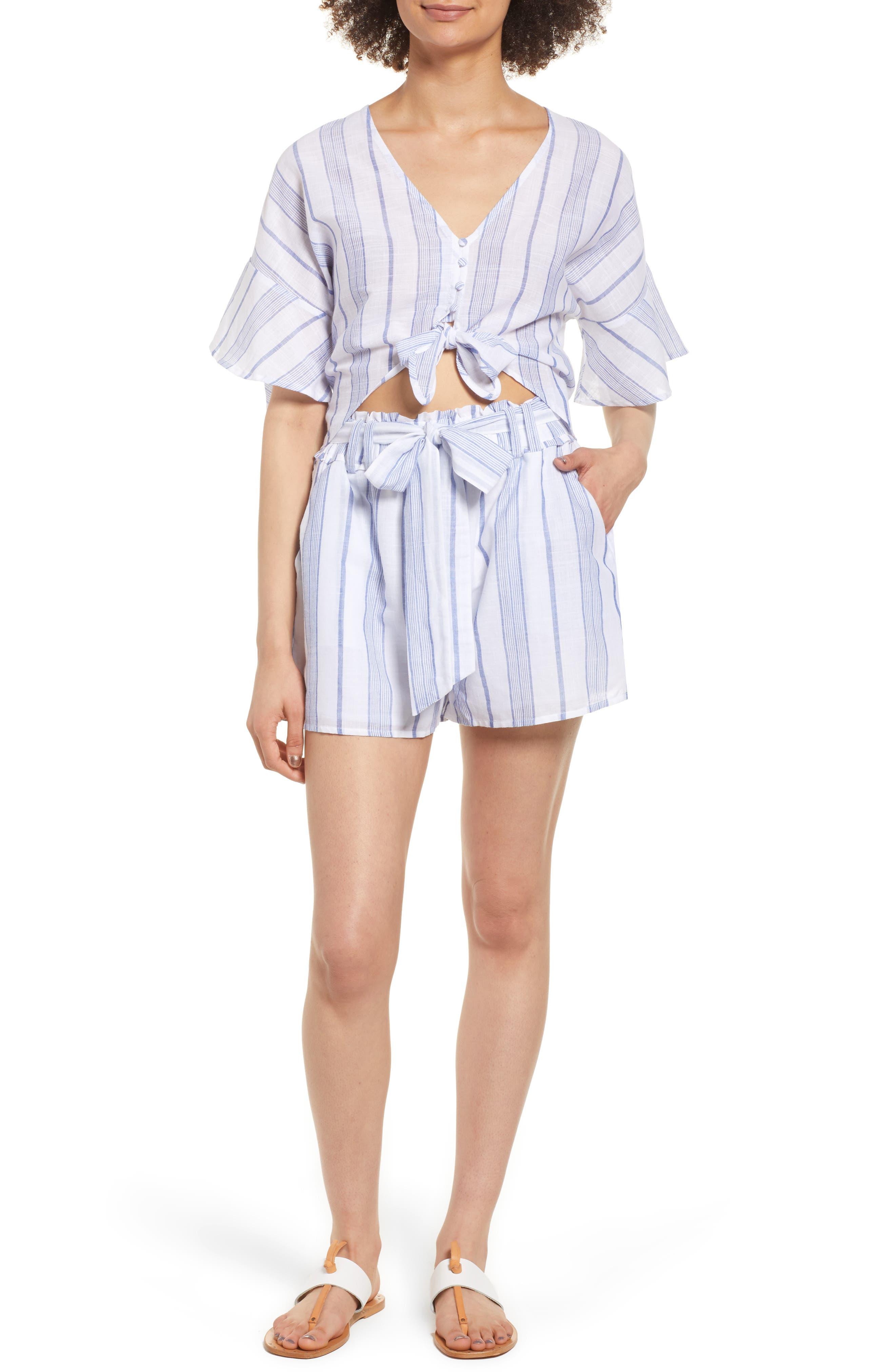 Stripe Tie Waist Shorts,                             Alternate thumbnail 2, color,                             Sky Stripe