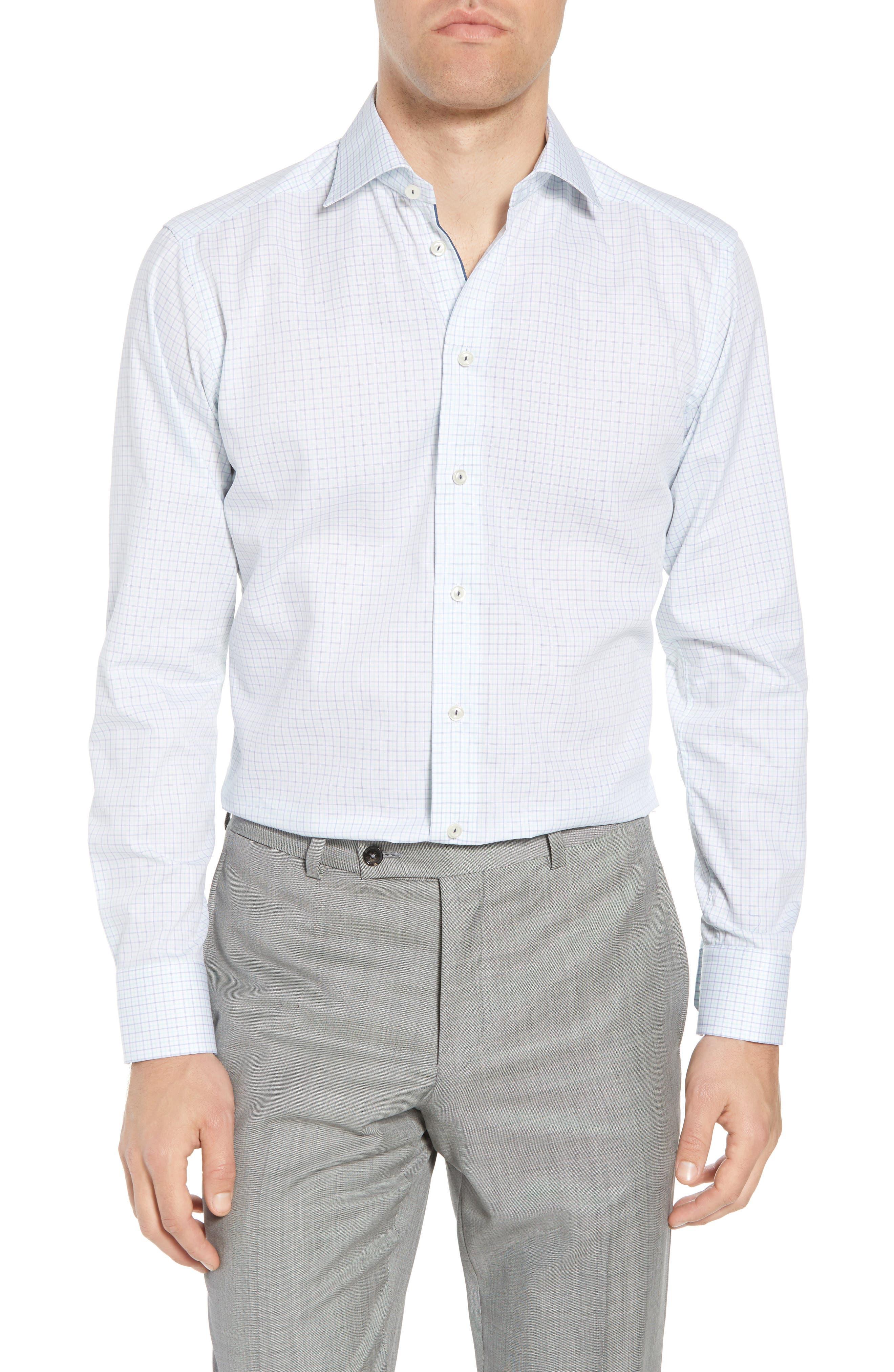 Slim Fit Check Dress Shirt,                         Main,                         color, Green