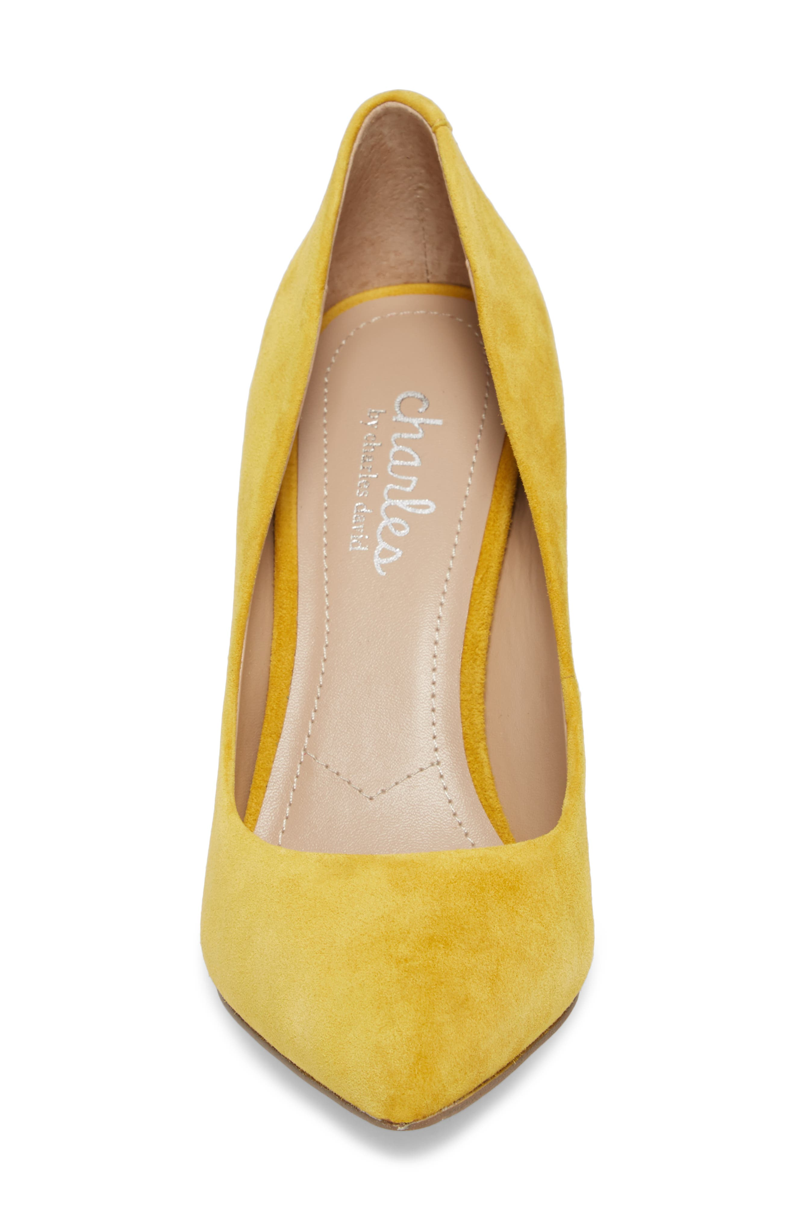 Maxx Pointy Toe Pump,                             Alternate thumbnail 4, color,                             Canary Suede