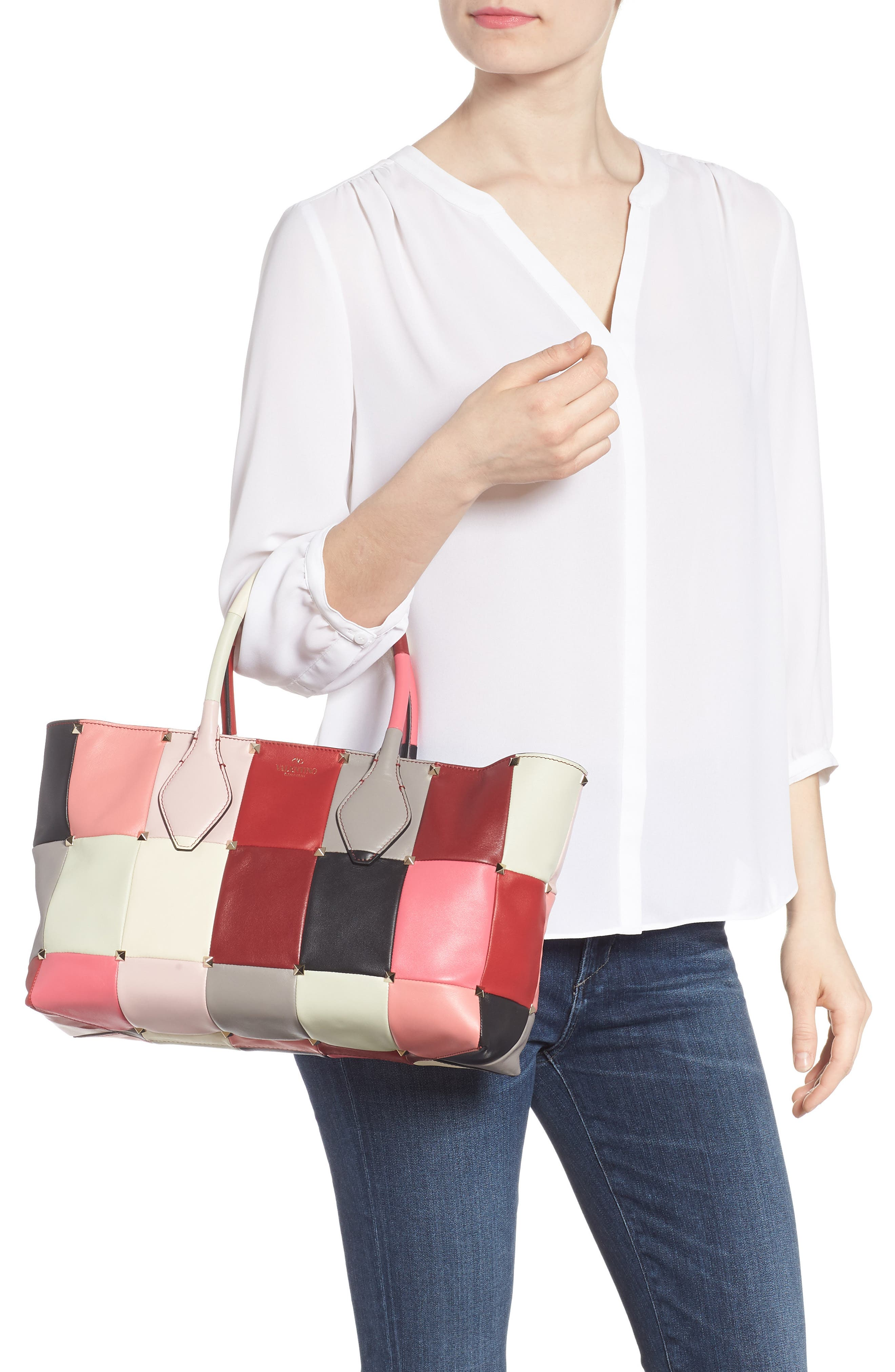 Puzzlestud Small Patchwork Leather Tote,                             Alternate thumbnail 2, color,                             Rose Multicolor