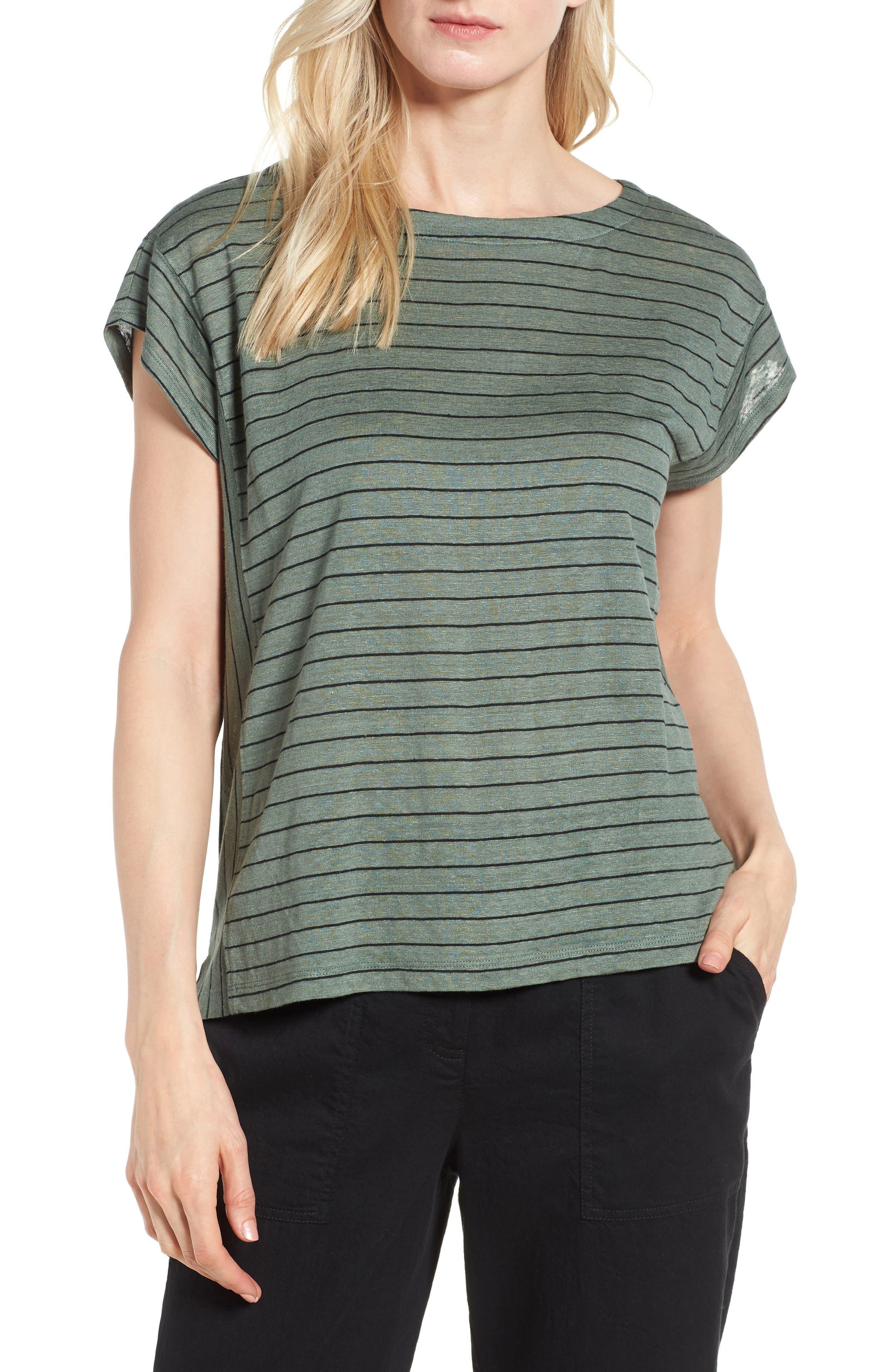 Eileen Fisher Stripe Organic Linen Top (Regular & Petite)